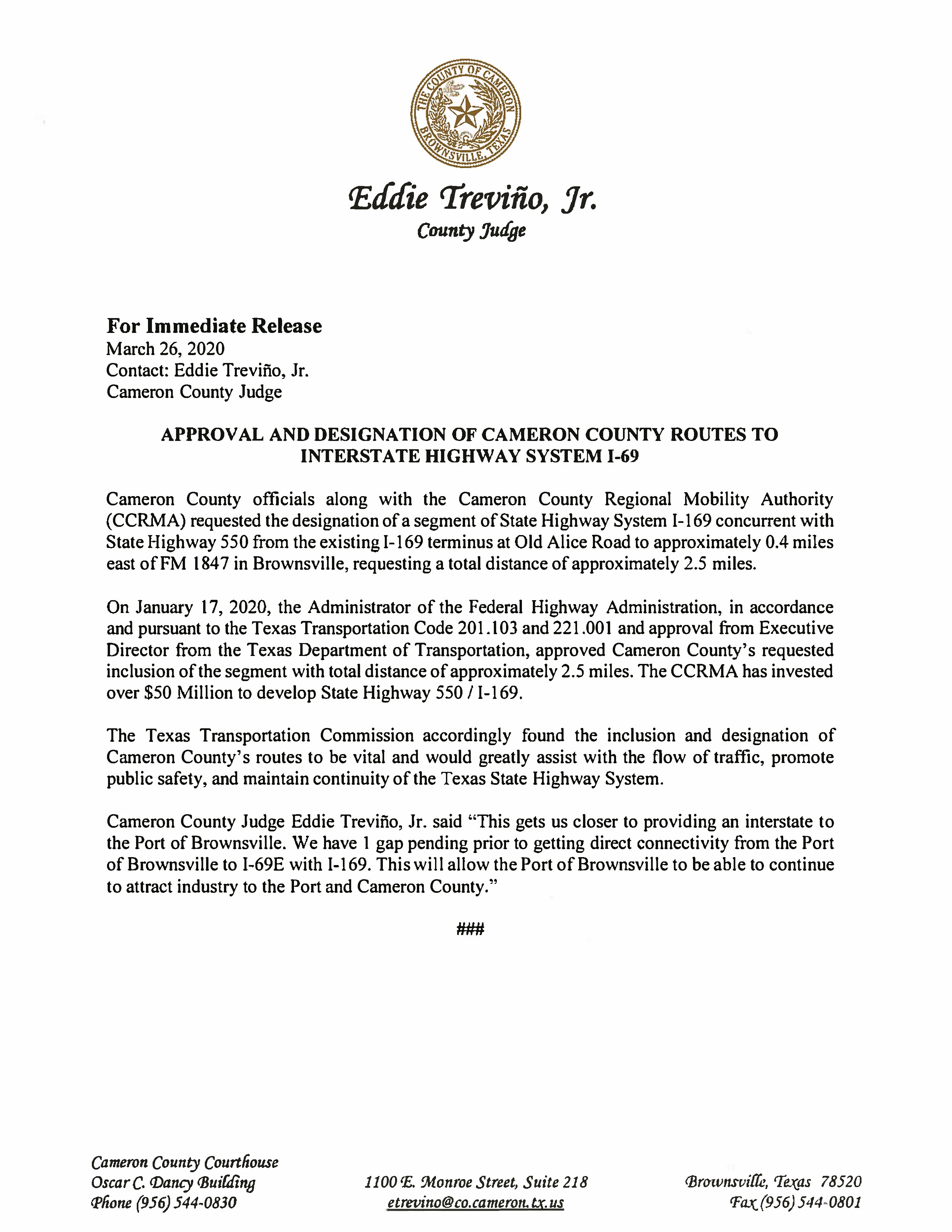 03 26 2020 For Immediate Release Approval and Designation of Cameron County Routes to Interstate Highway System I 69 2 Page 1 - Cameron County Housing Authority Application