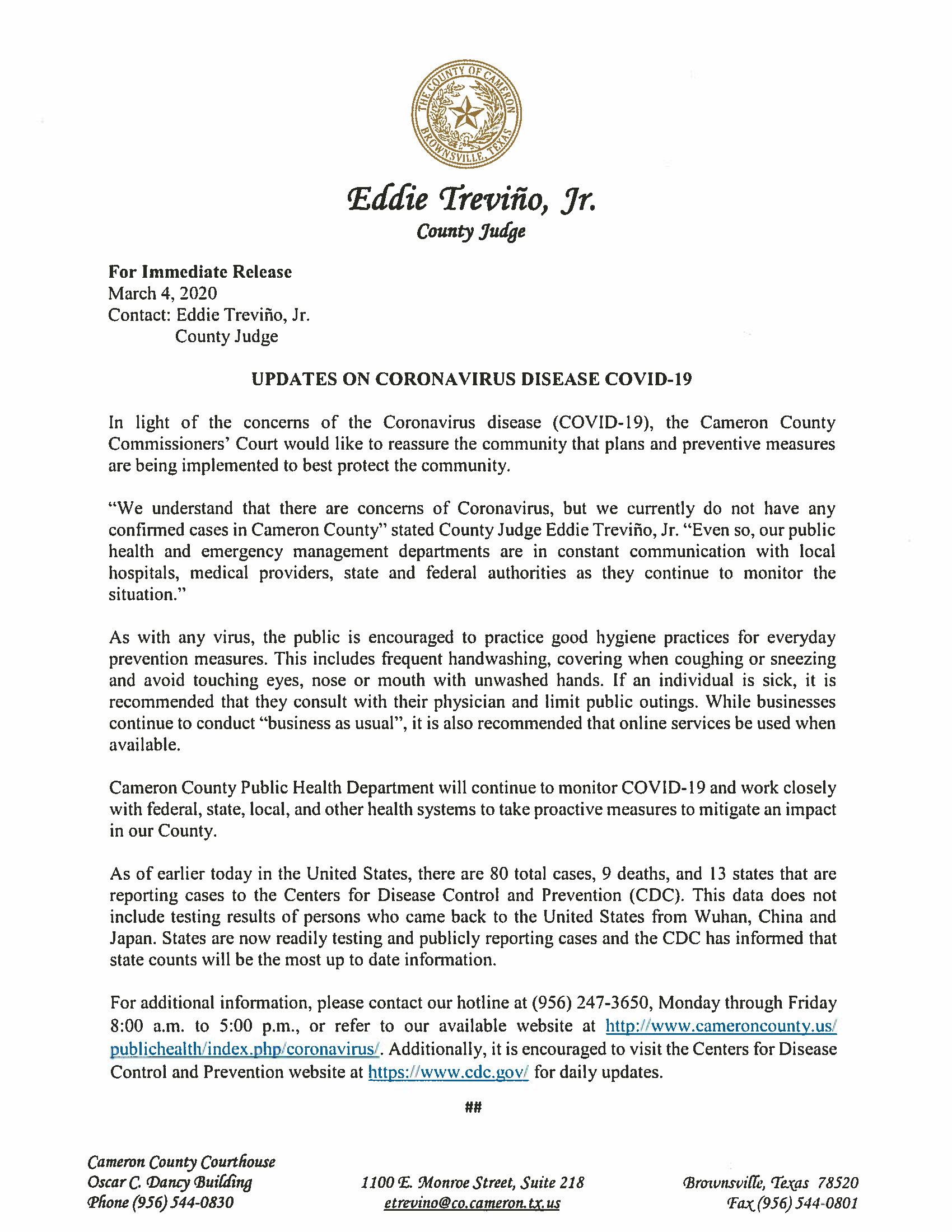 03.04.2020 Press Release Updates On Coronavirus Disease COVID 19