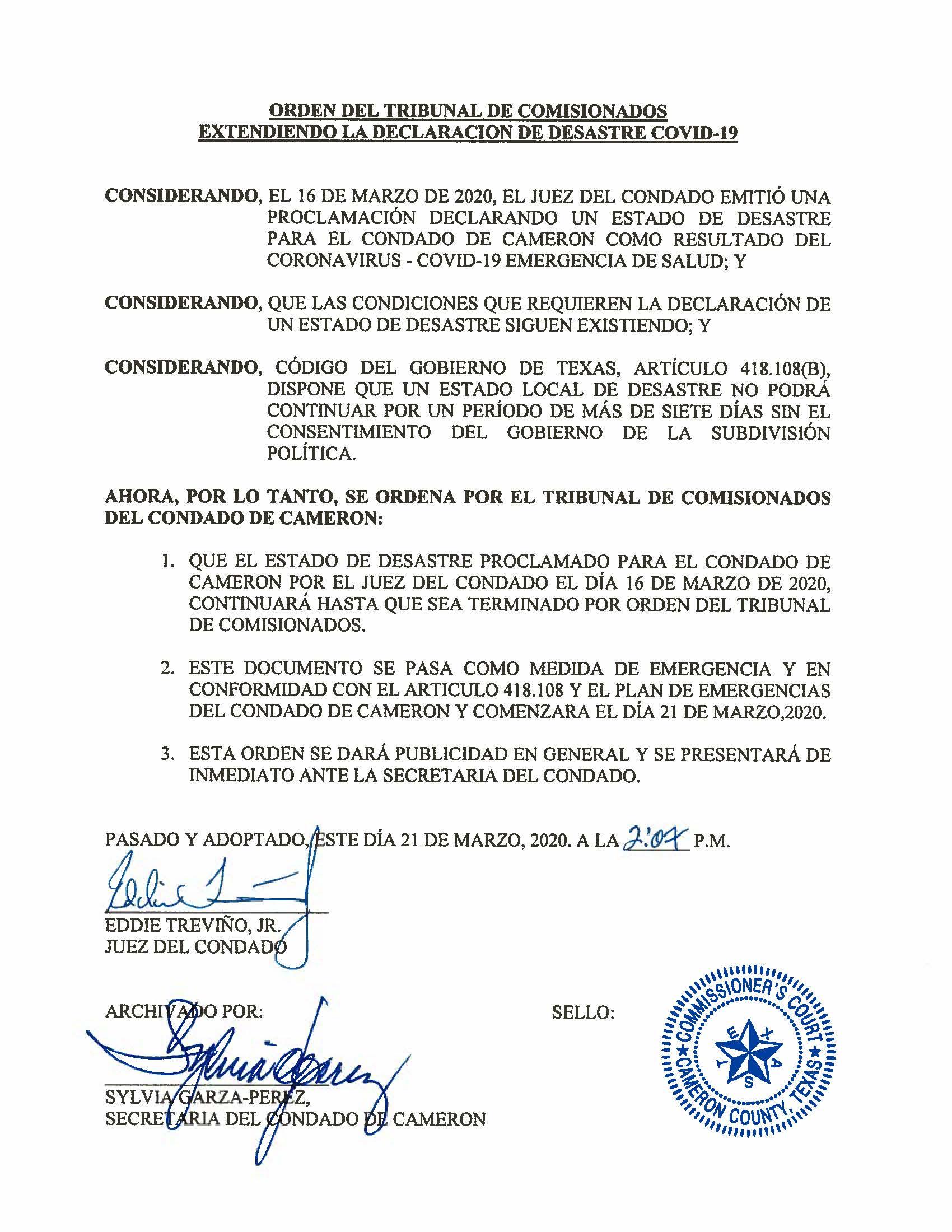 03.21.2020 Orden De Extension