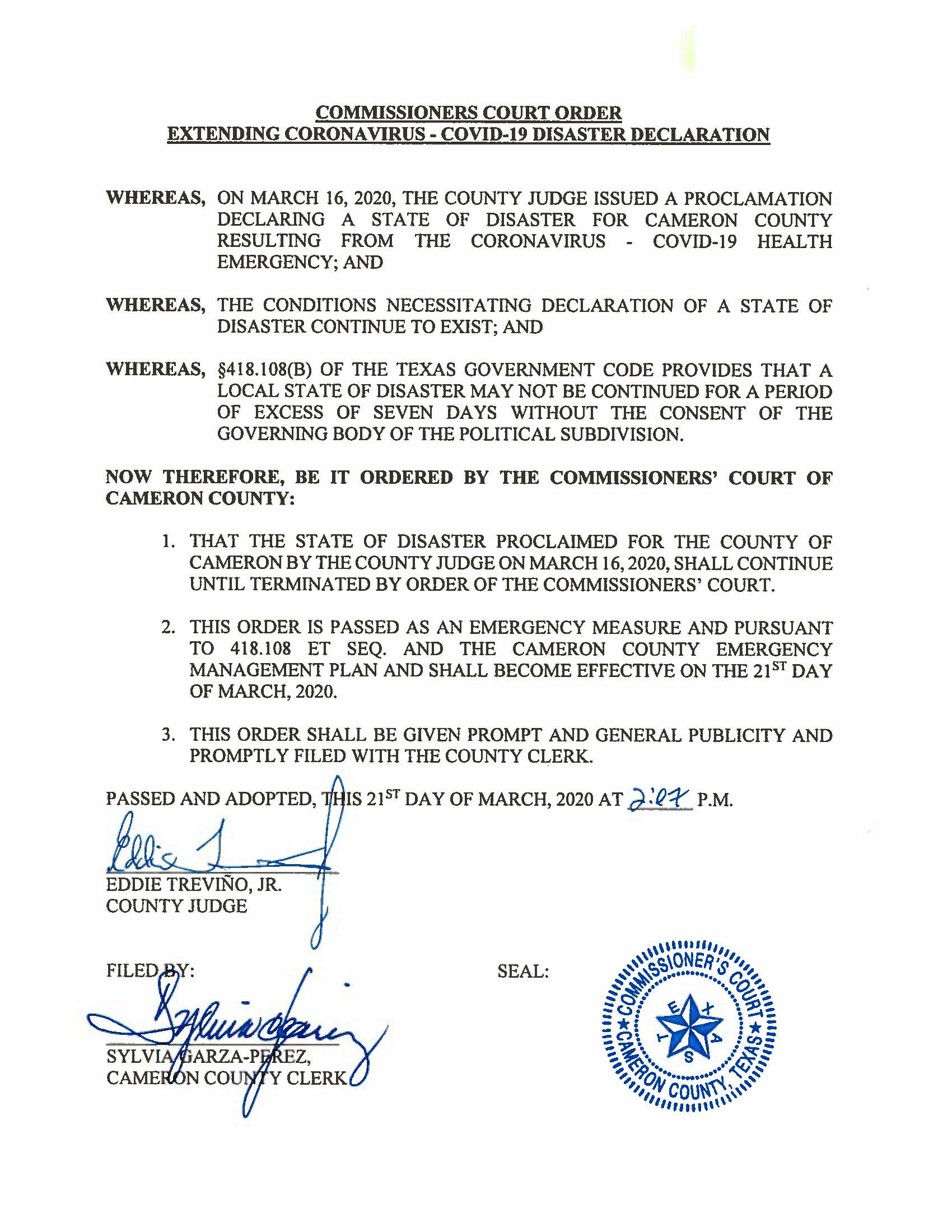 03.21.2020 Order Of Extension