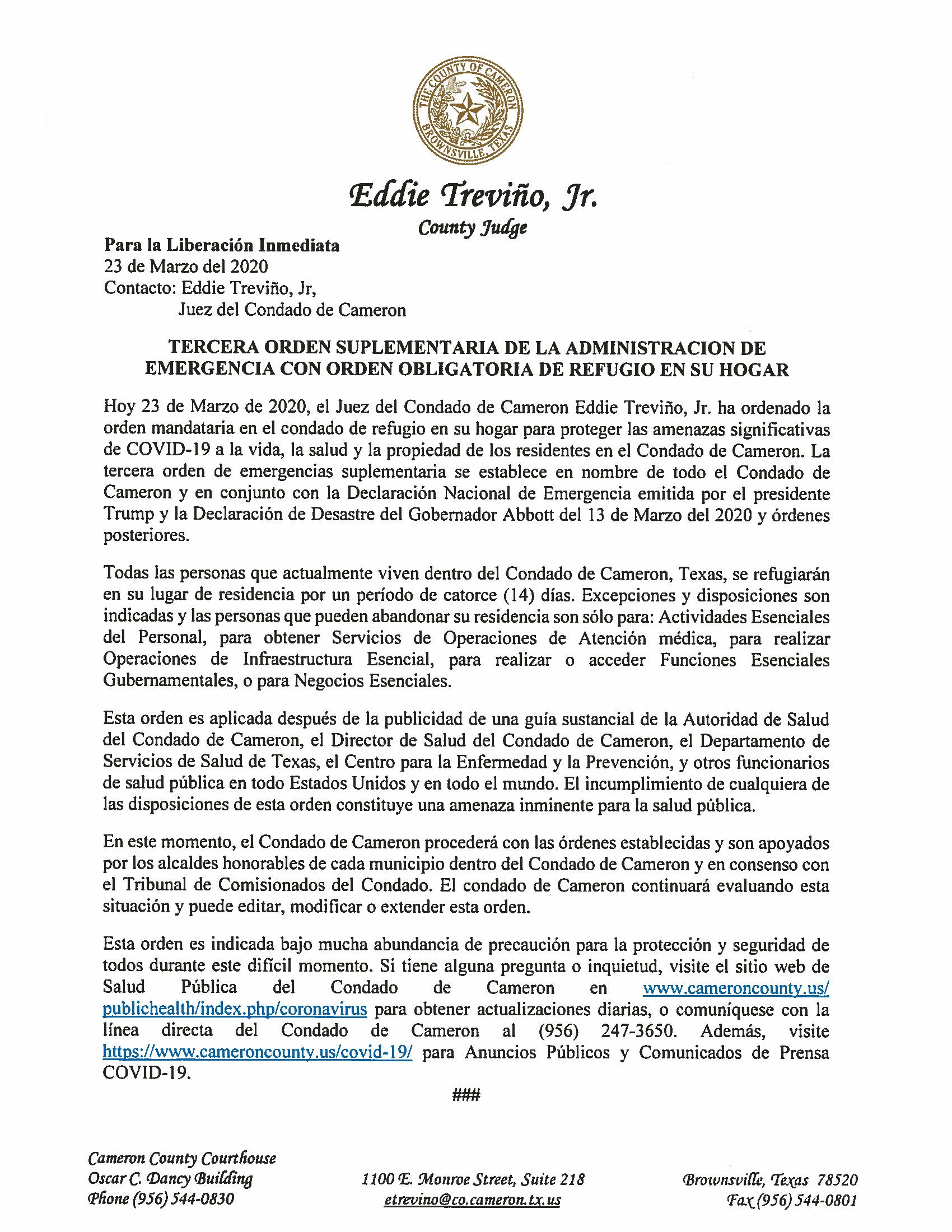 03.23.2020 Para La Liberacion Inmediata Tercera Orden Obligatoria