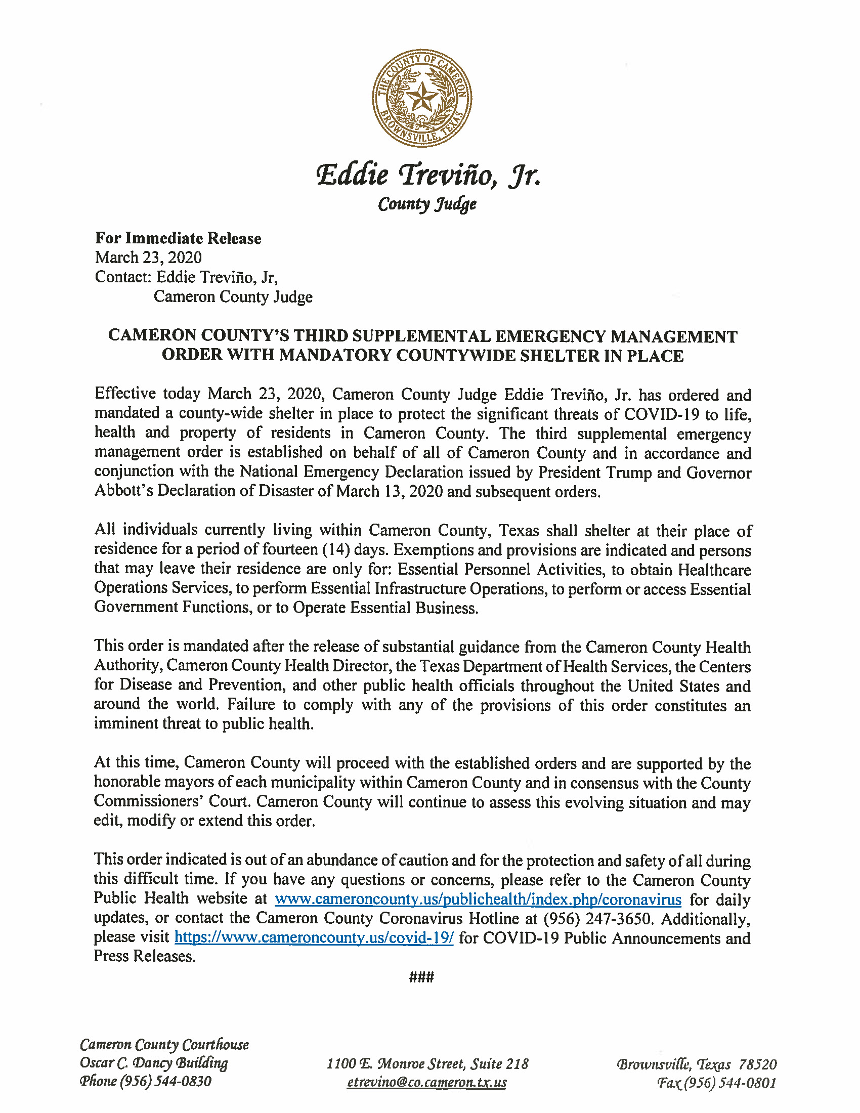 03.23.2020 Press Release Third Supplemental Order And Mandatory Countywide Shelter In Place