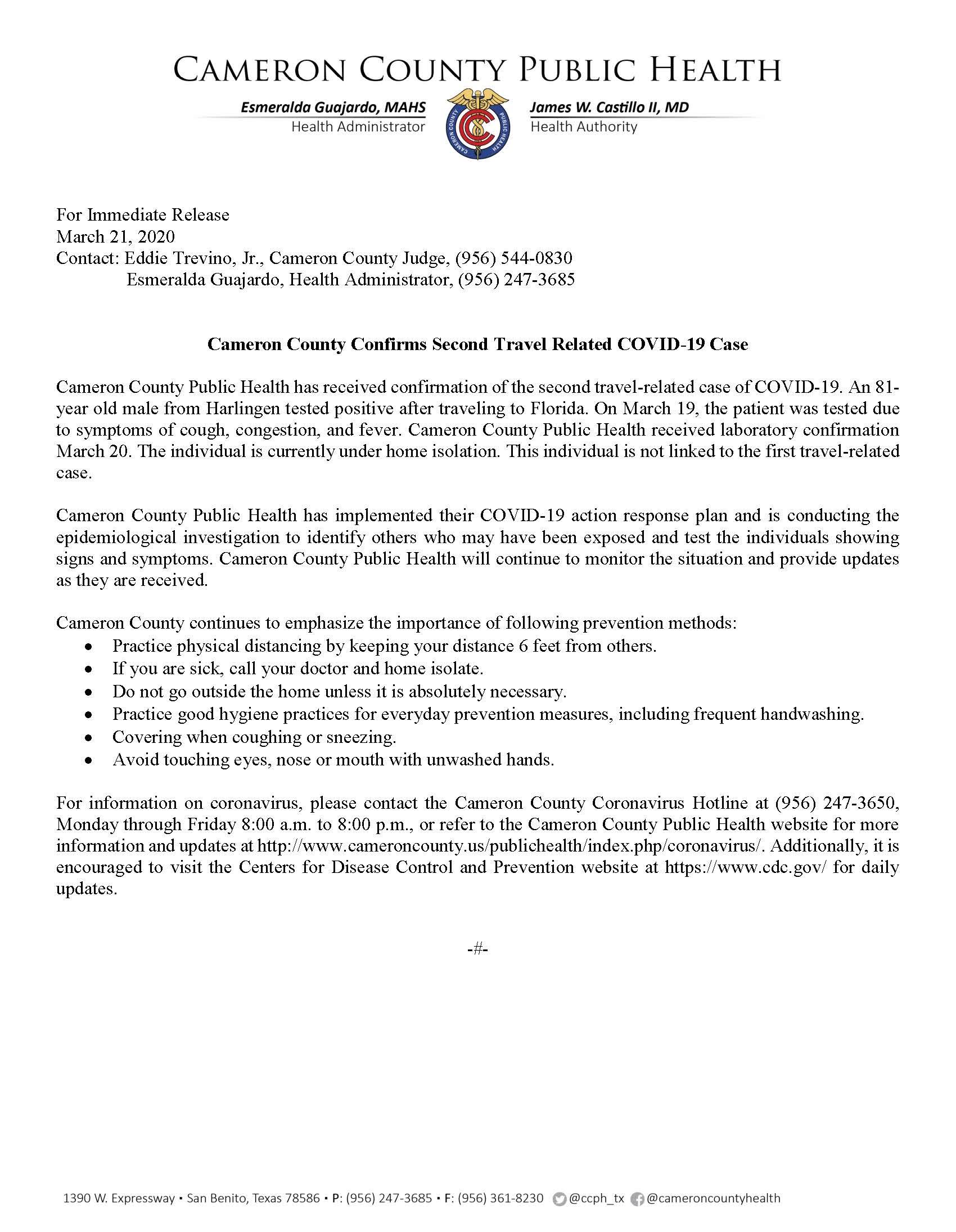 COVID 19 Press Release 2nd TRC 3.21.2020