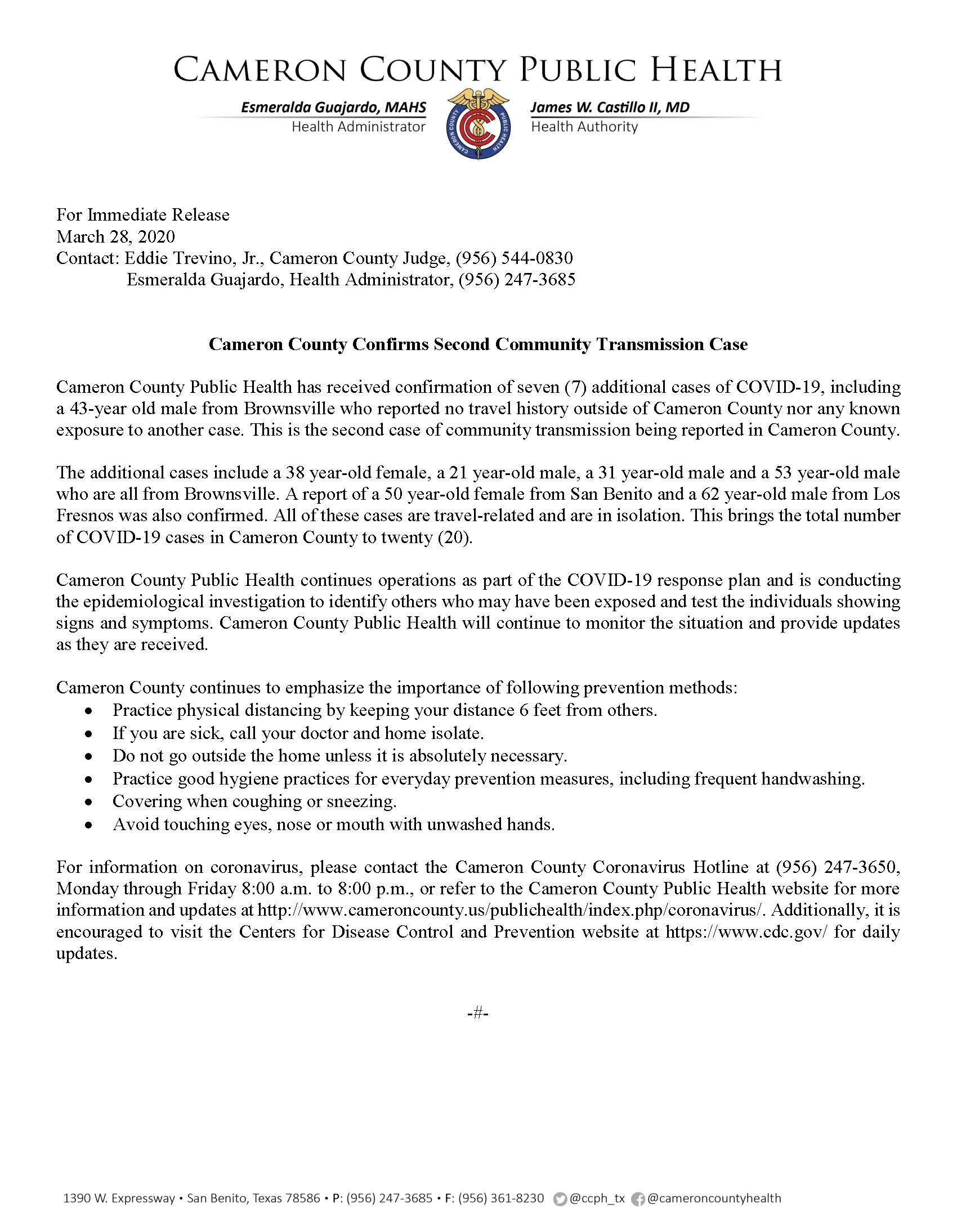 COVID 19 Press Release 2ndLocalTransmission  3.28.2020