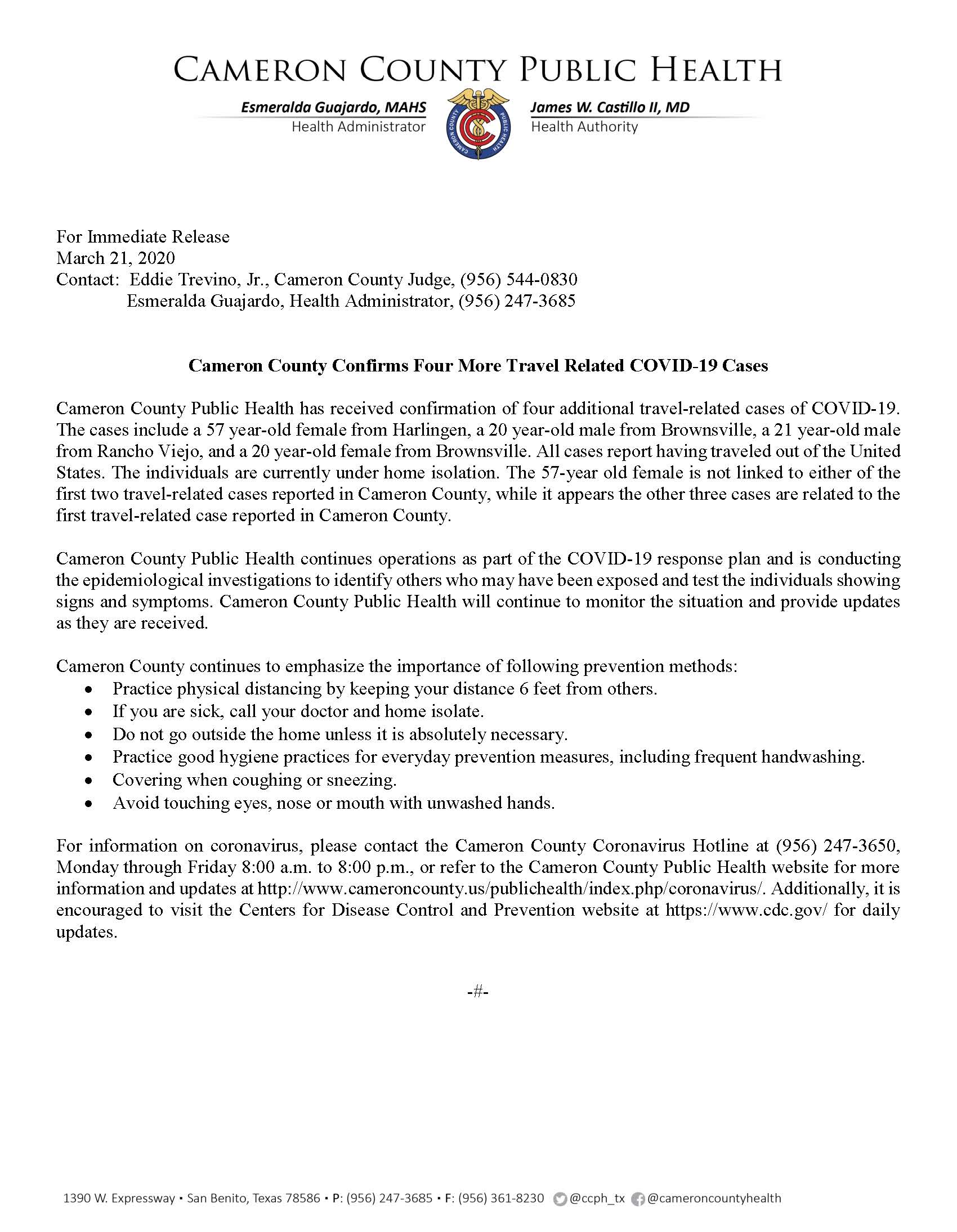 Two Travel Related Cases Of Covid 19 Reported In Harris: Cameron County Confirms Four More Travel Related COVID-19