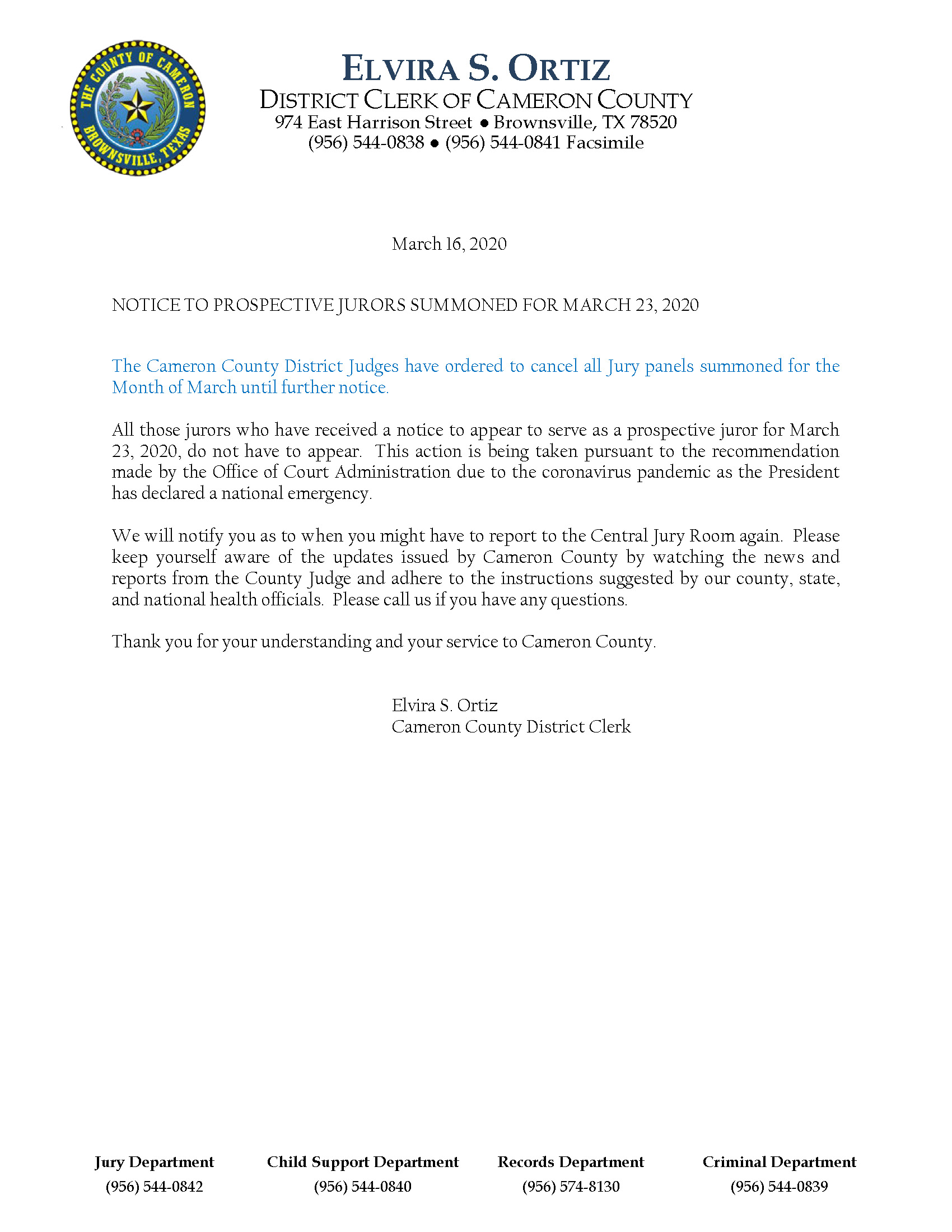 NOTICE TO JURORS FOR MARCH 2020