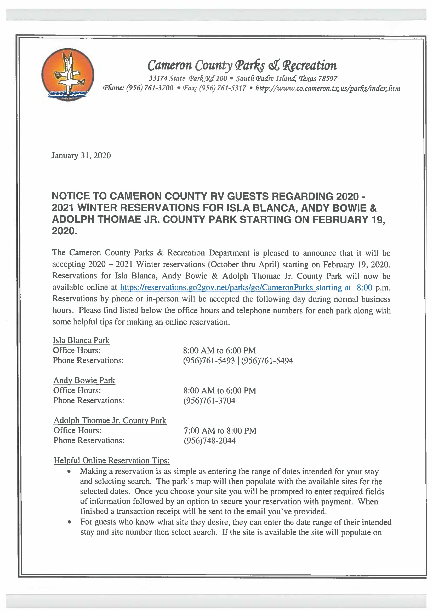 Notice To Cameron County Winter RV GUESTS Regarding Resevervations 2020 2021 1 31 20 Page 1