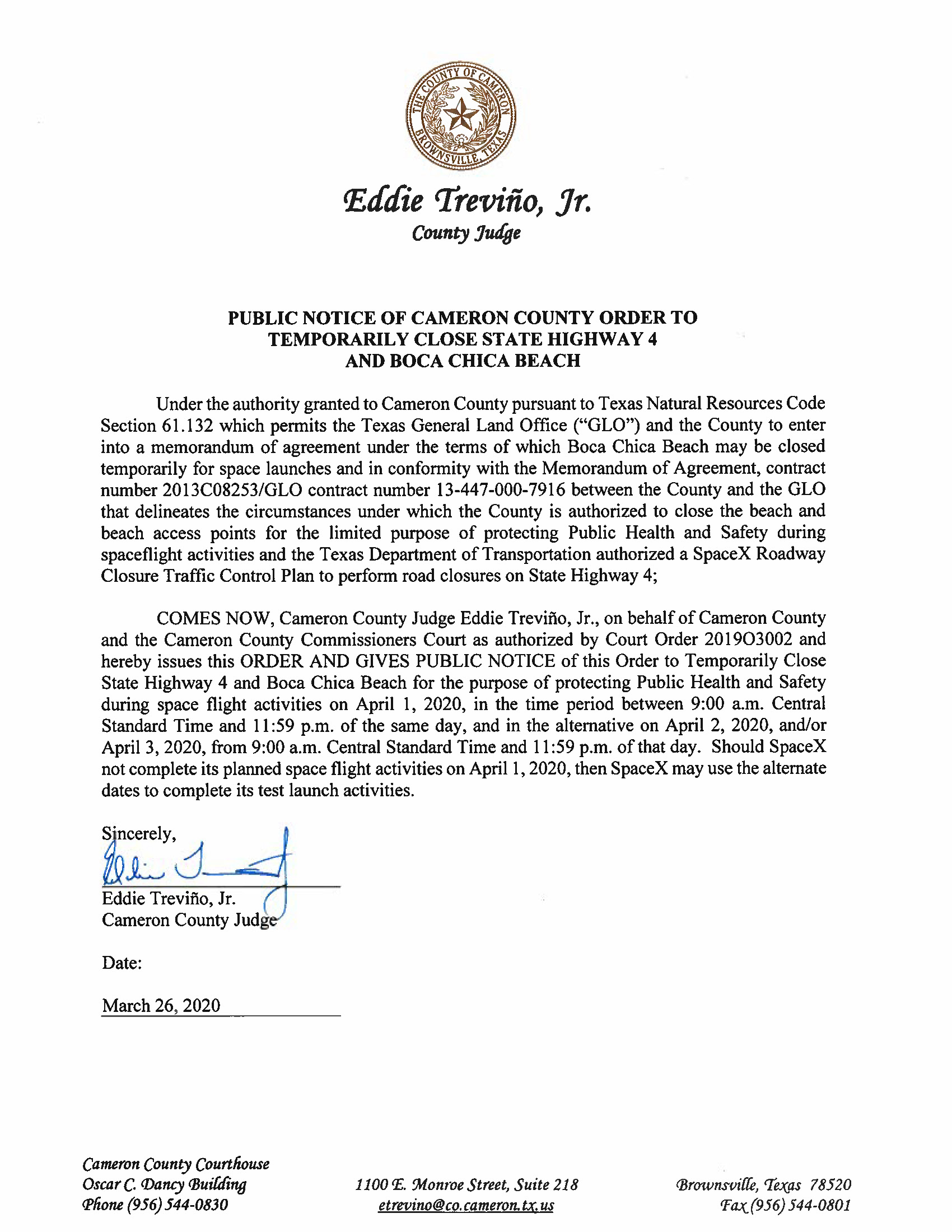 Order And Exhibit B For Beach And Road Closure.04.01.20 Page 1