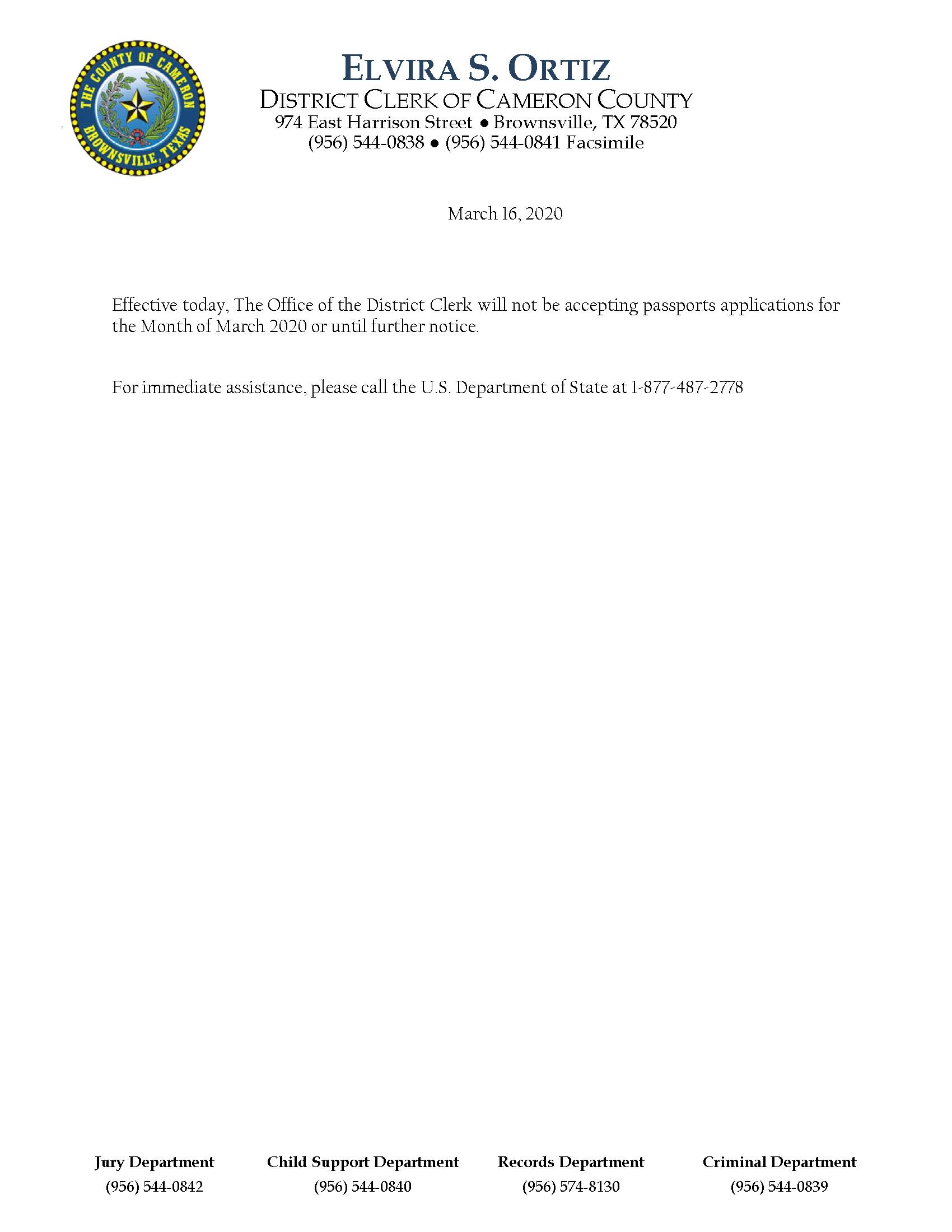 Passports Closure Notice 2020