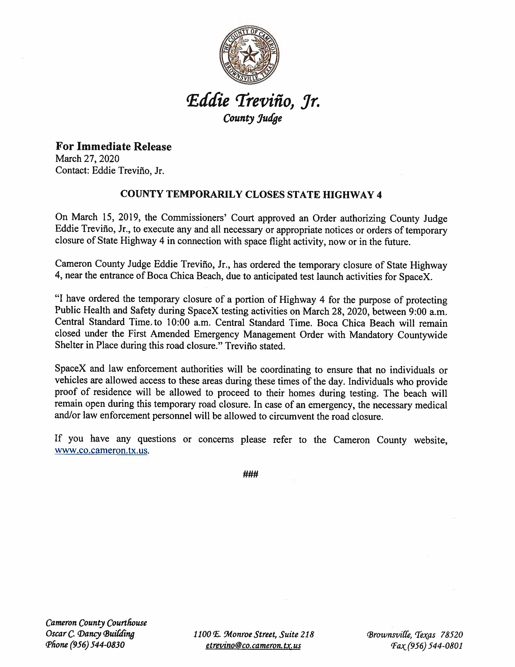 Press Release English Spanish For 03.28.2020.State Hwy 4 Closure Only Page 1