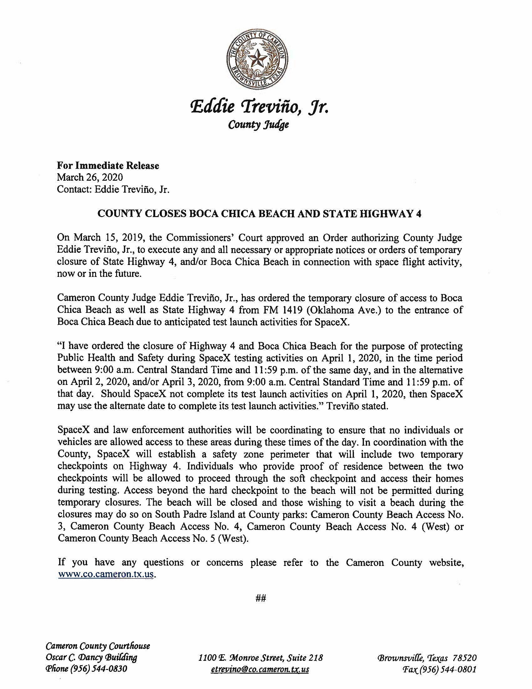 Press Release English Spanish For 04.01.2020 For Boca Chica Beach And Road Closure Page 1