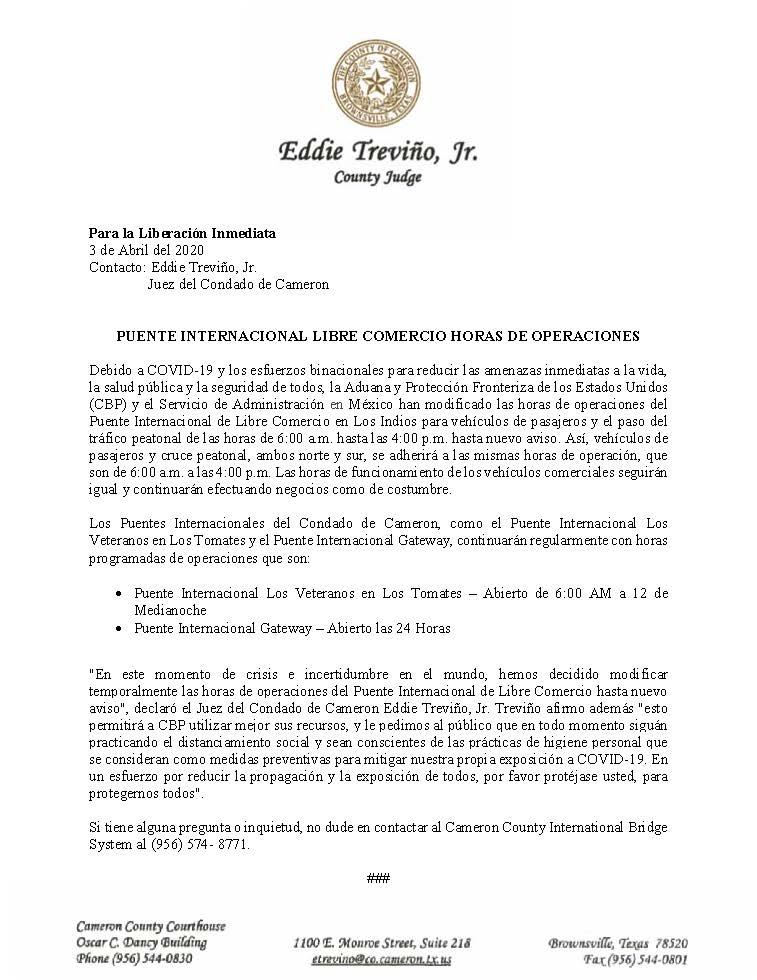 04.03.2020 Para La Liberacion Inmediata Operacion De Puente