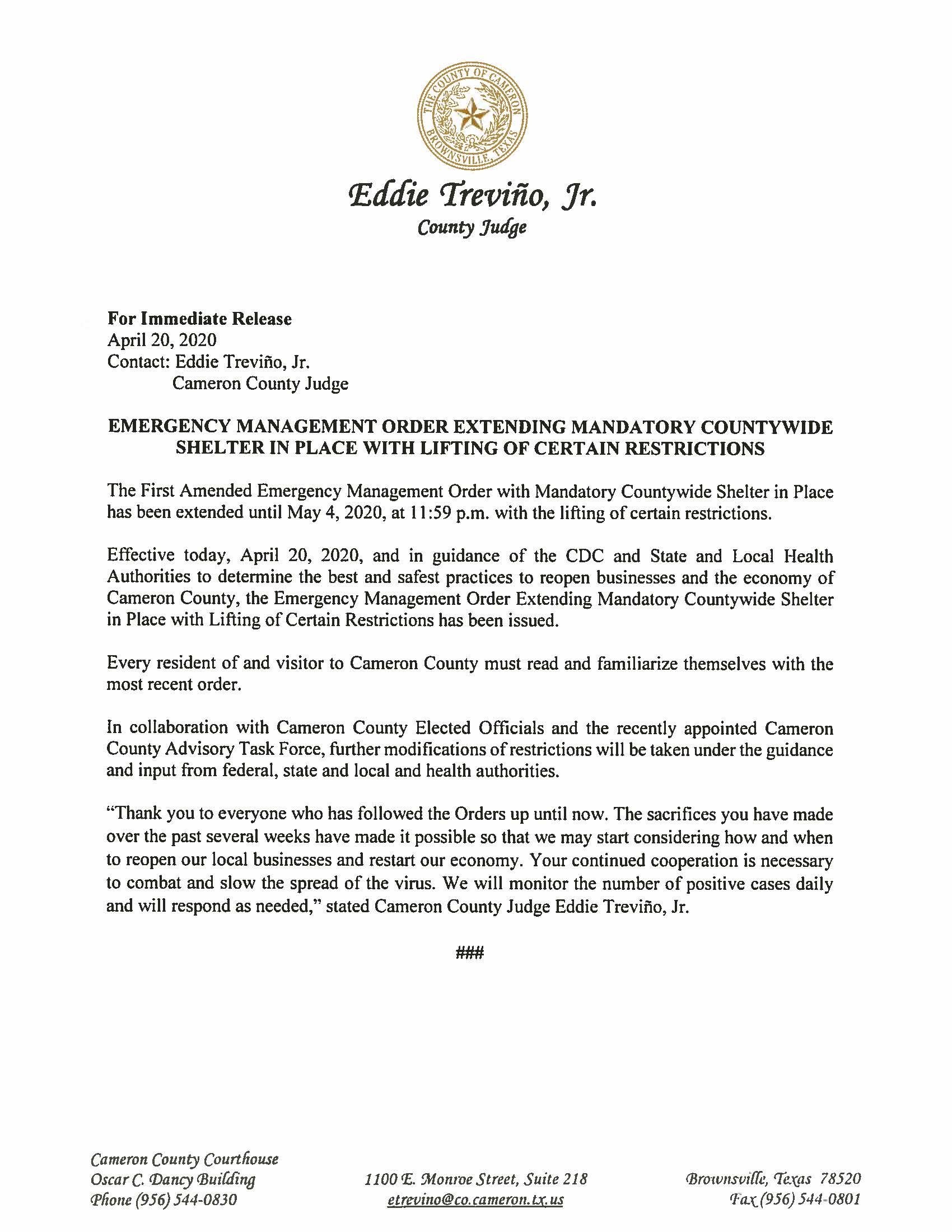 04.20.2020 For Immediate Release Emergency Management Order Extending Mandatory Countywide Shelter in Place with Lifting of Certain Restrictions - Cameron County Housing Authority Application