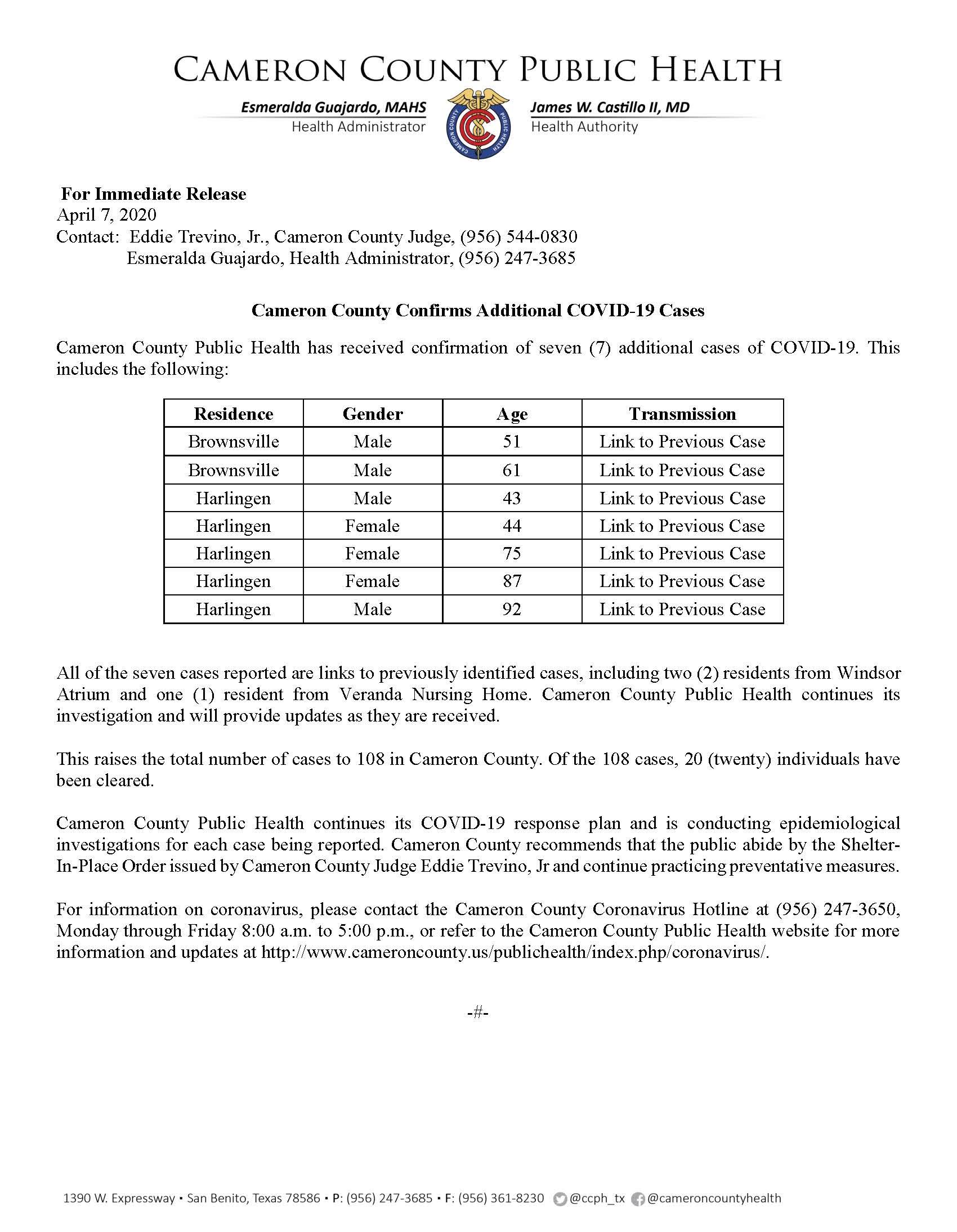 COVID 19 Press Release 102 108 4 7 2020