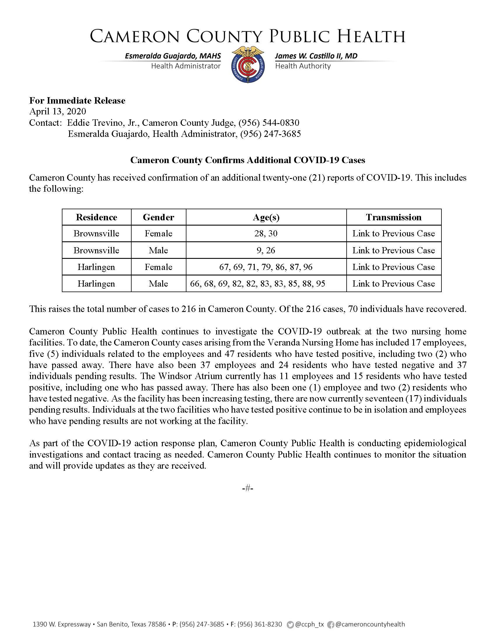 COVID 19 Press Release 196 216 4 13 2020