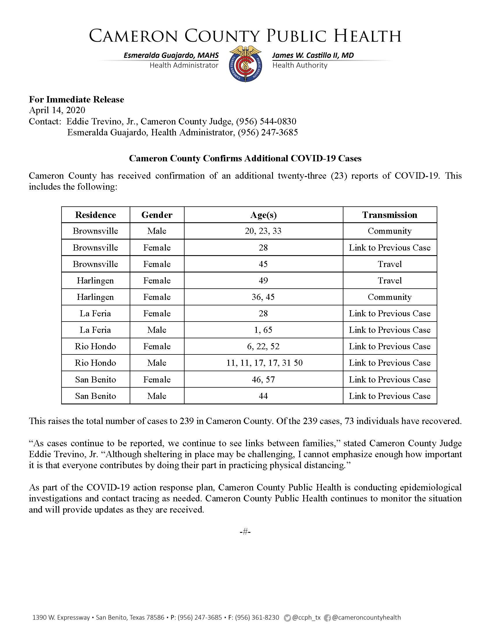 COVID 19 Press Release 217 239 4 14 2020