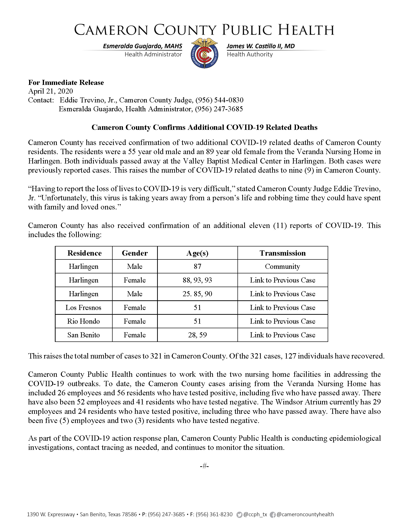 COVID 19 Press Release 311 321 PR27 4 21 2020