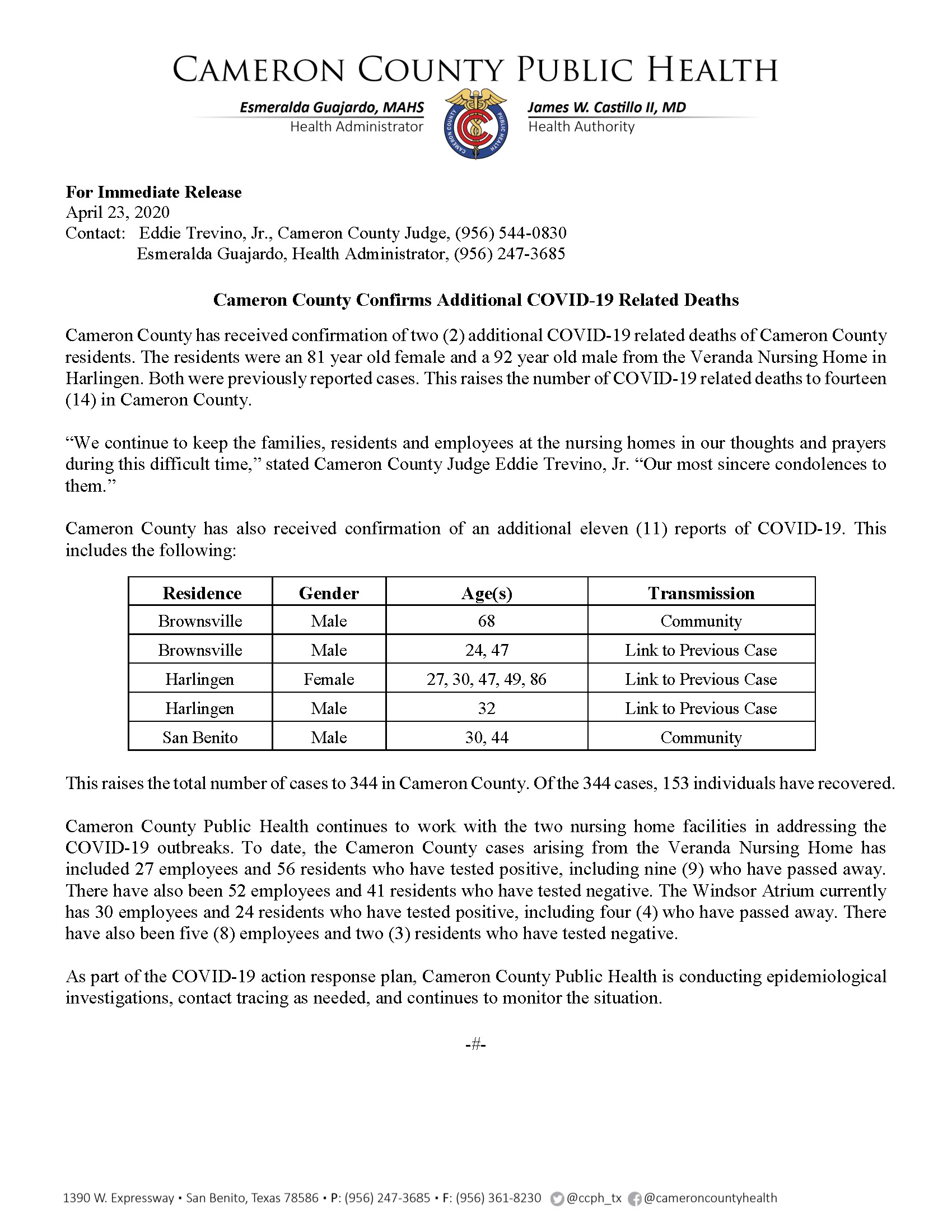 COVID 19 Press Release 334 344 PR29 4 23 2020