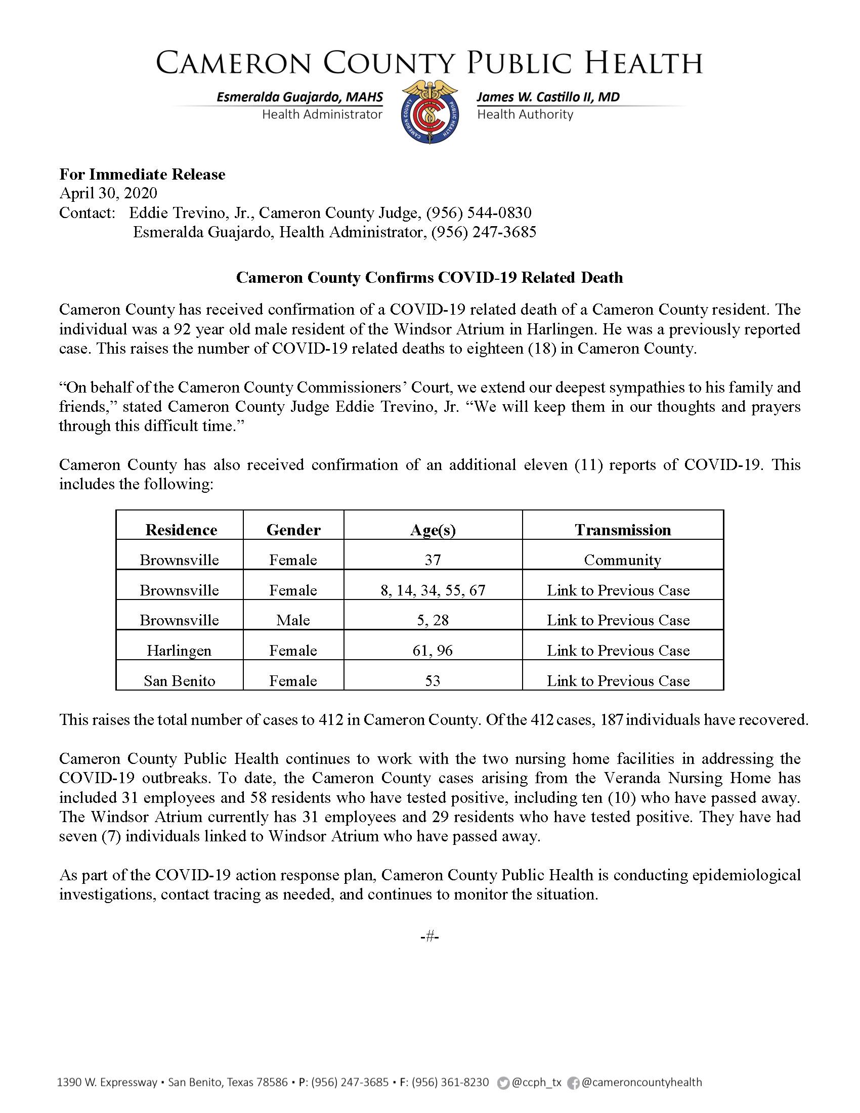 COVID 19 Press Release 402 412 PR35 4 30 2020