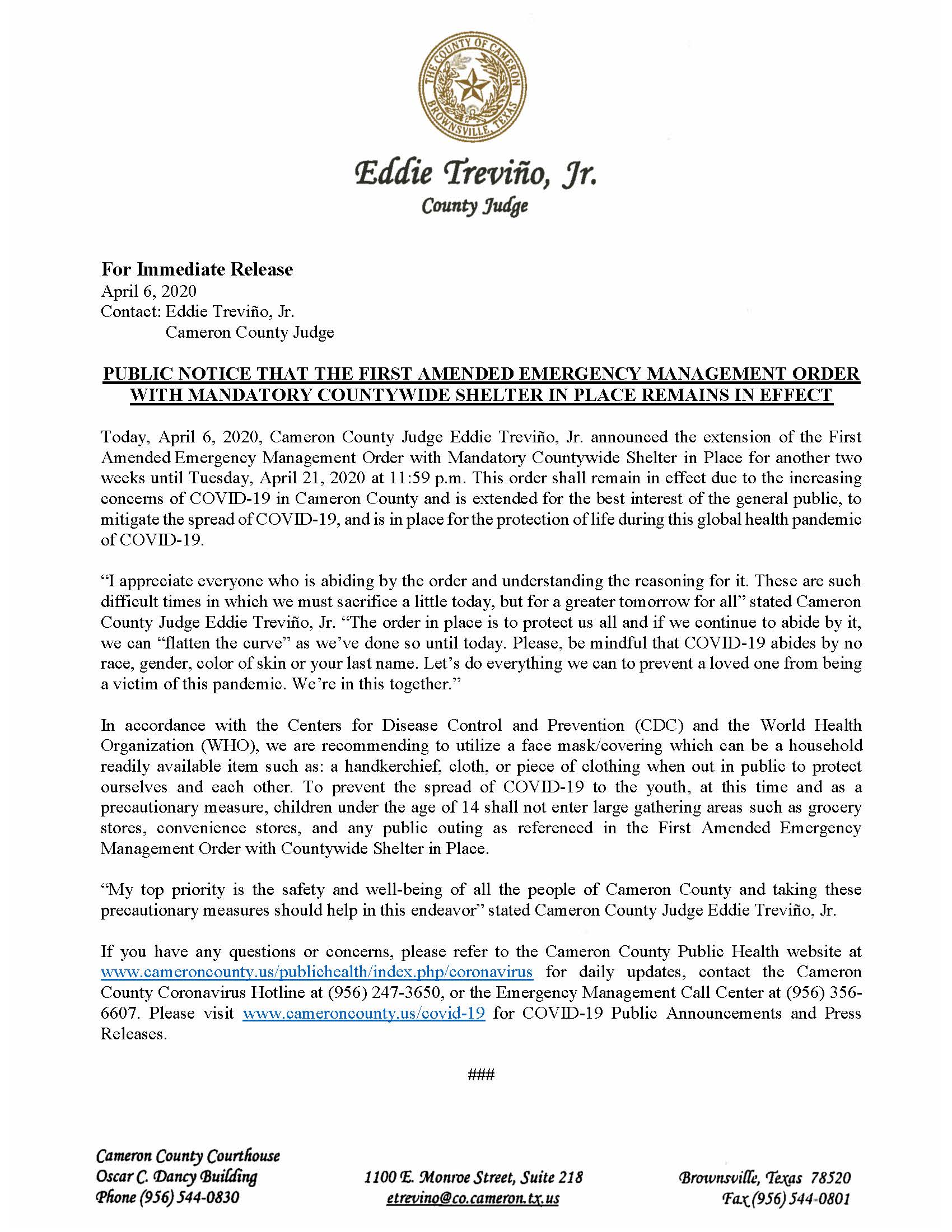 For Immediate Release - Cameron County Housing Authority Application