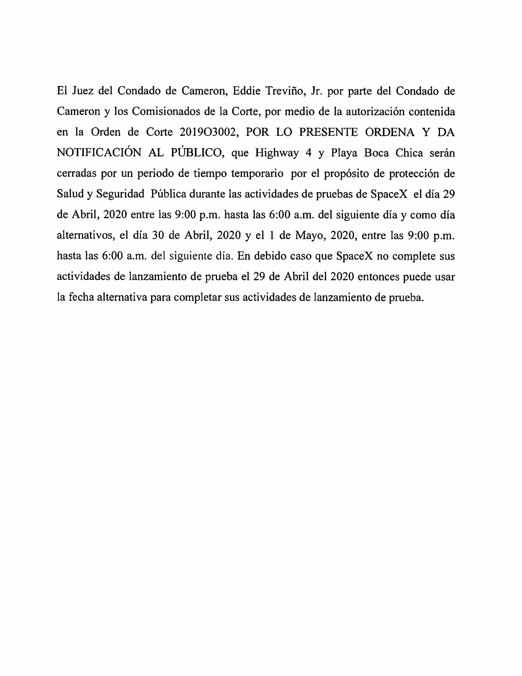 ORDER.CLOSURE OF HIGHWAY 4 Y LA PLAYA BOCA CHICA.SPANISH.04.29.20
