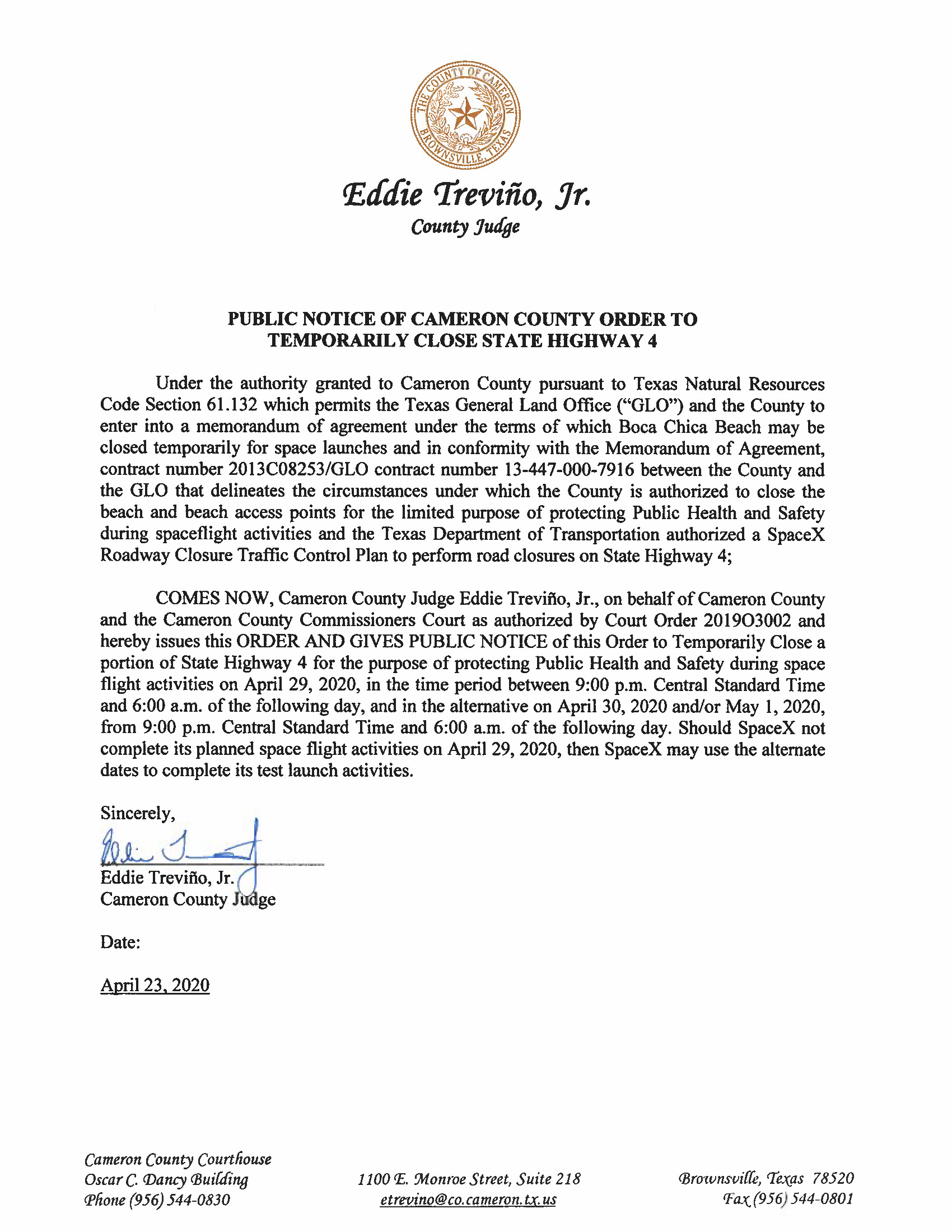 PUBLIC NOTICE OF CAMERON COUNTY ORDER TO TEMP. BEACH CLOSURE AND HWY. 04.29.20 Page 1