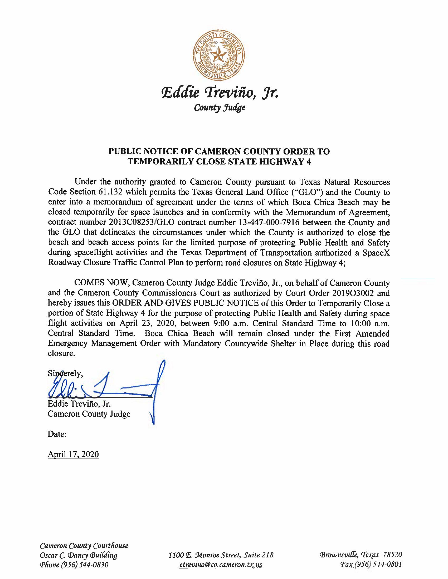 PUBLIC NOTICE OF CAMERON COUNTY ORDER TO TEMP. ROAD CLOSURE. 04.23.2020