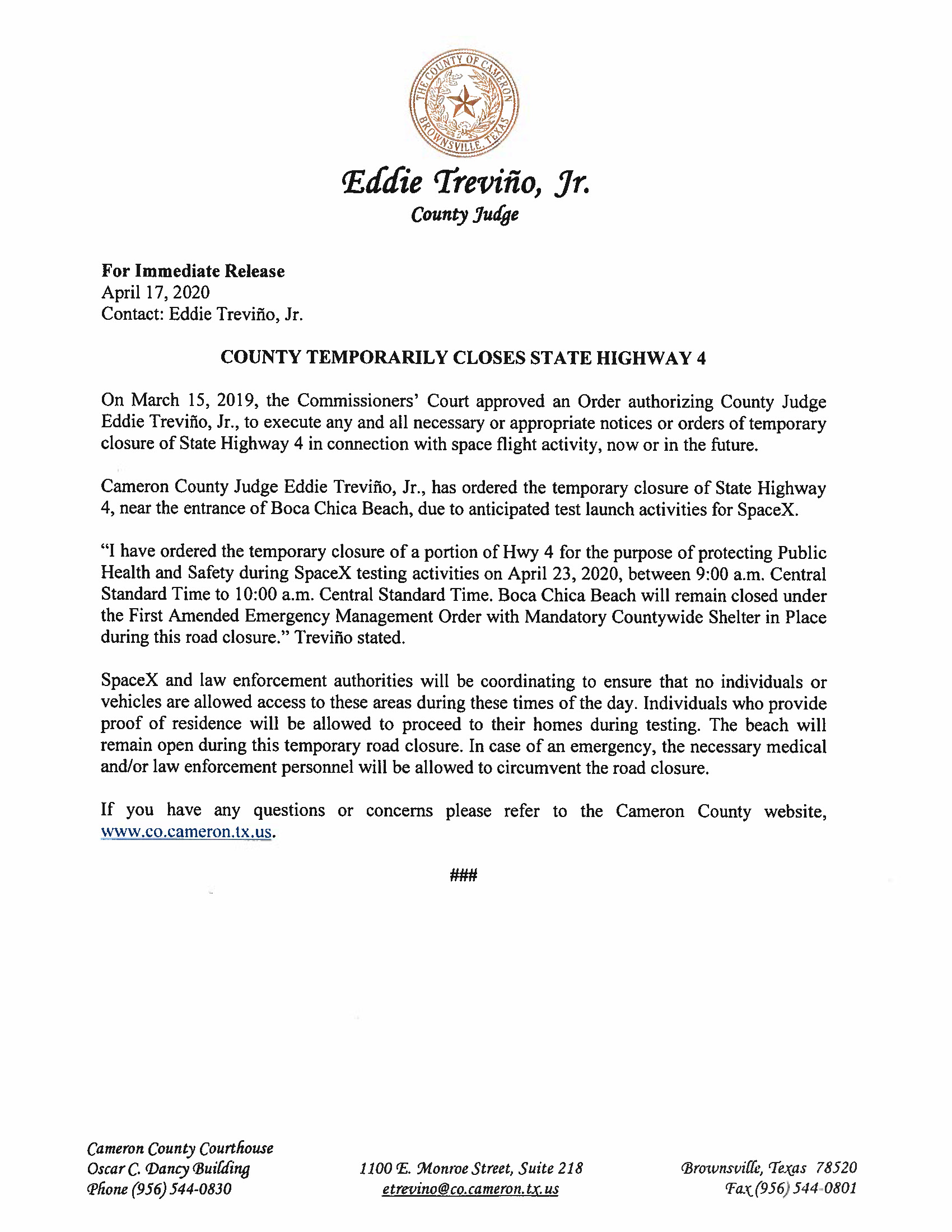Press Release In English And Spanish.ROAD CLOSURE. 04.23.2020 Page 1