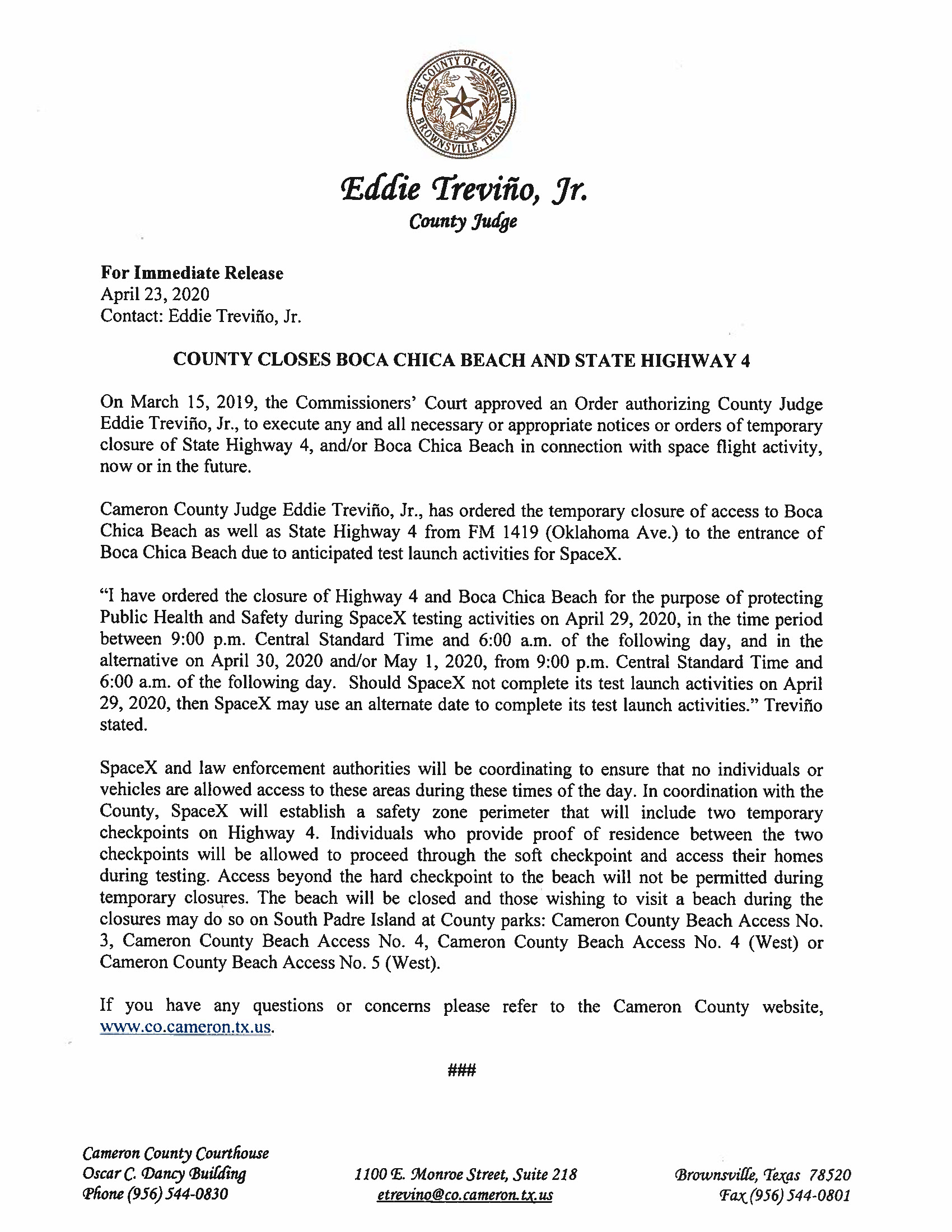 Press Release.English And Spanish.04.29.20 Page 1