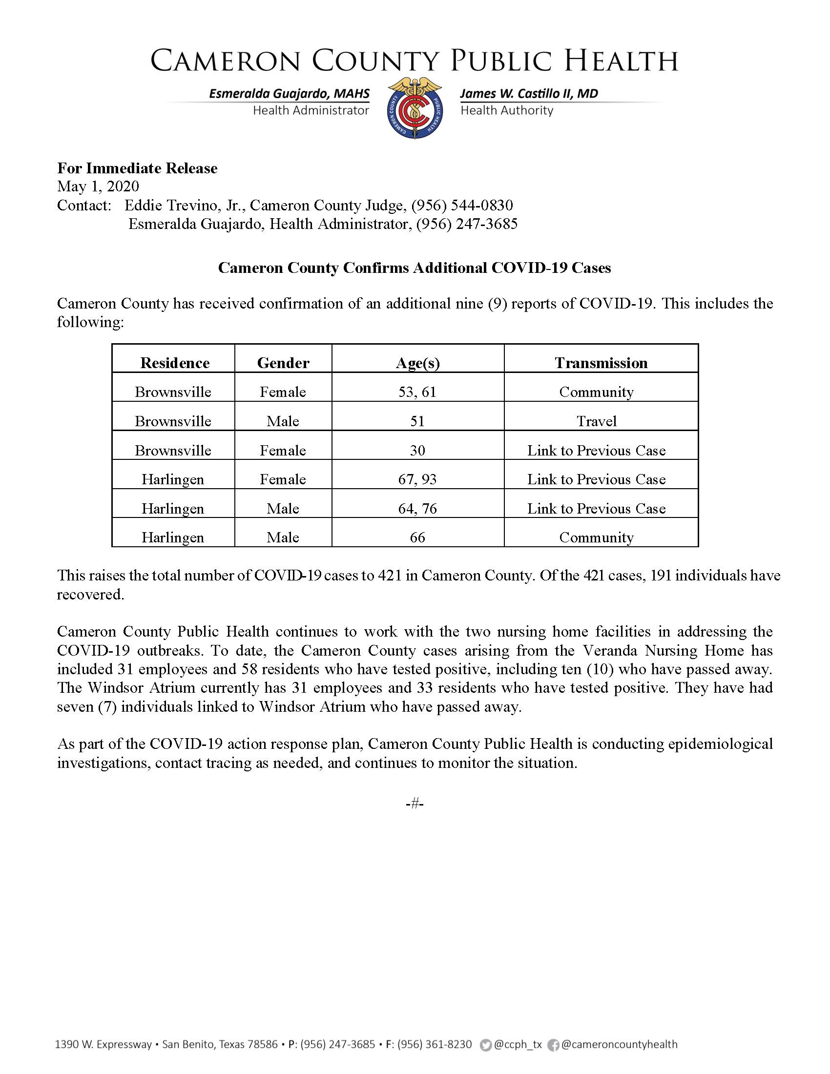 COVID 19 Press Release 413 421 PR36 5 1 2020