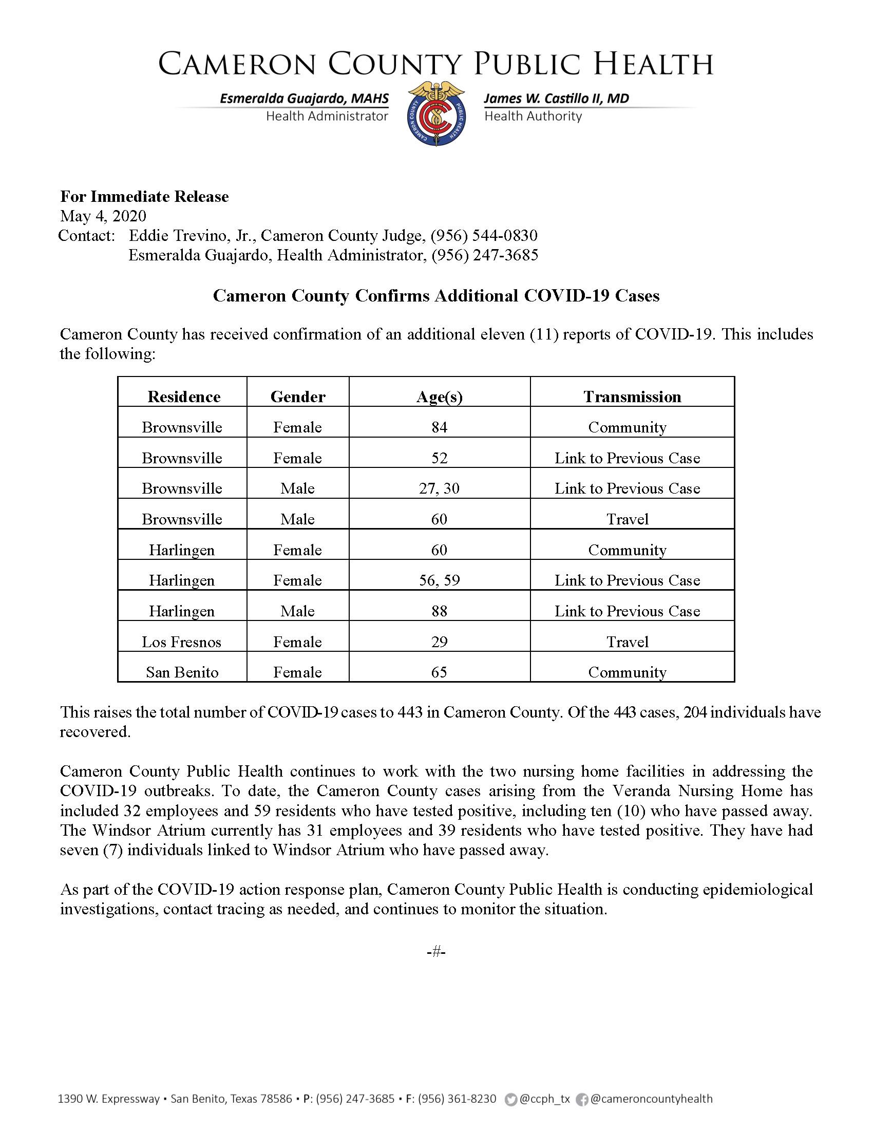 COVID 19 Press Release 433 443 PR38 5 4 2020