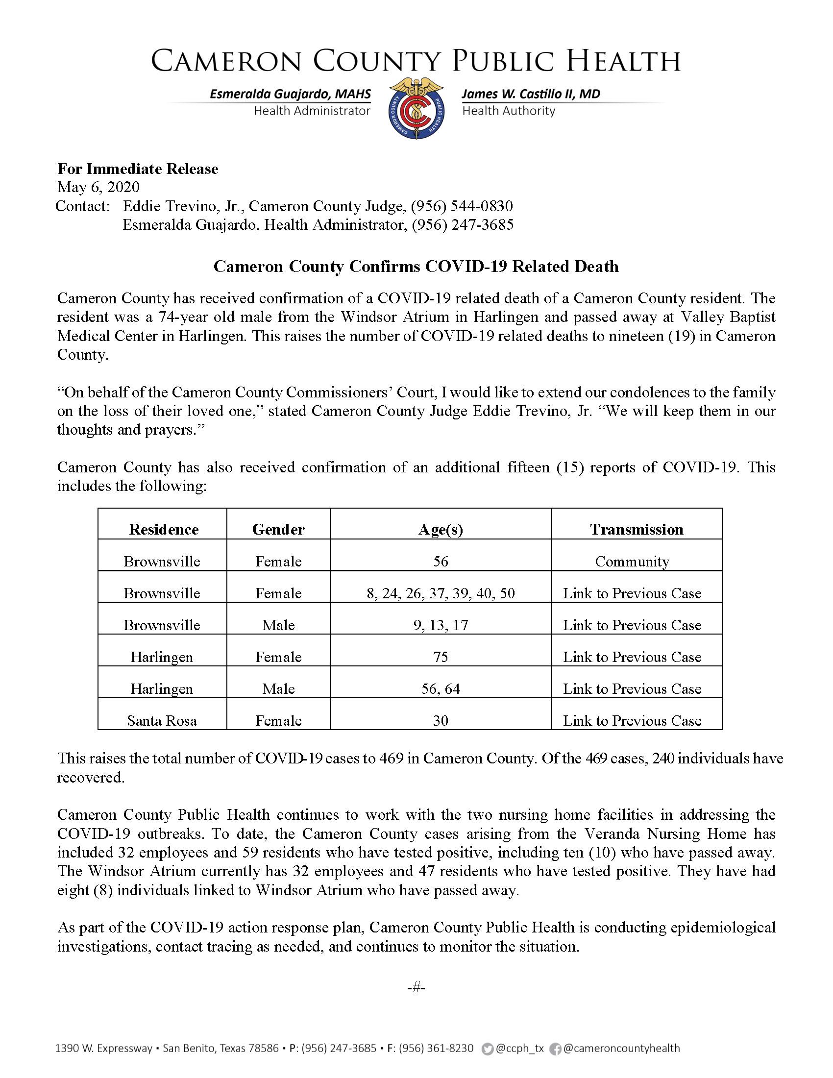 COVID 19 Press Release 455 469 PR40 5 6 2020