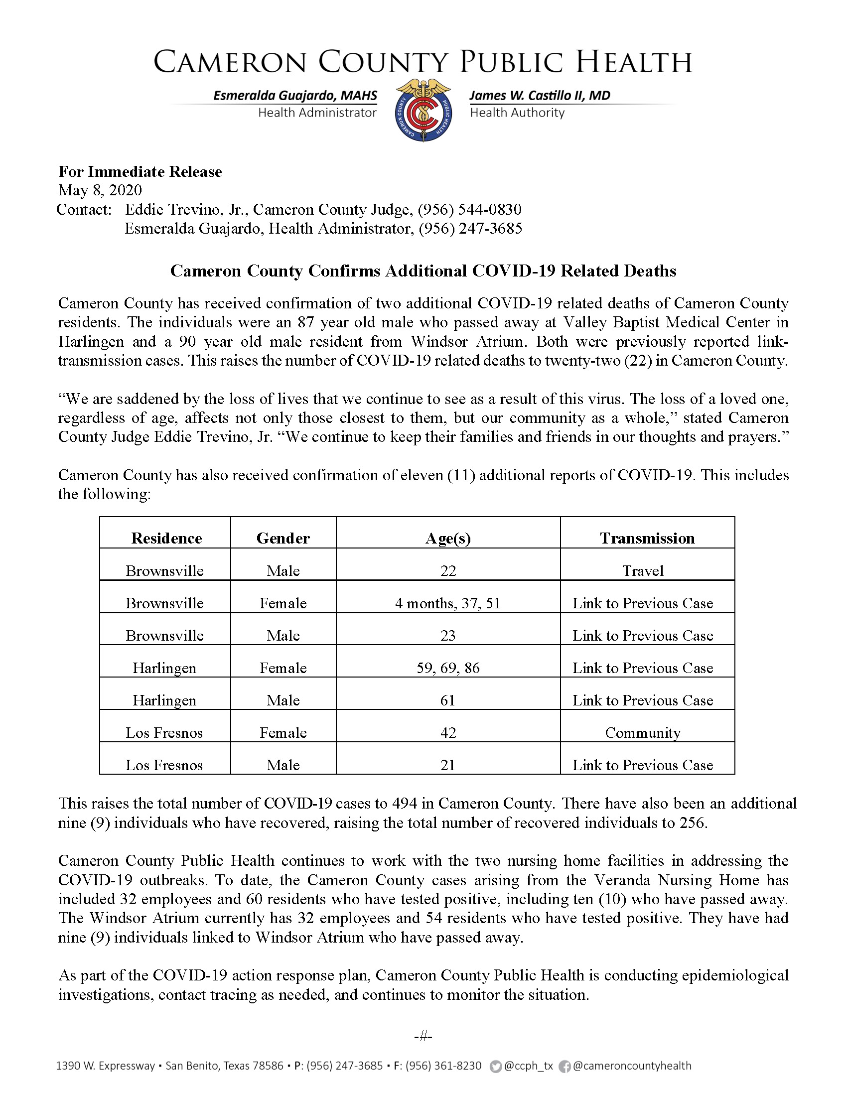 Two Travel Related Cases Of Covid 19 Reported In Harris: Cameron County Confirms Additional COVID-19 Related Deaths
