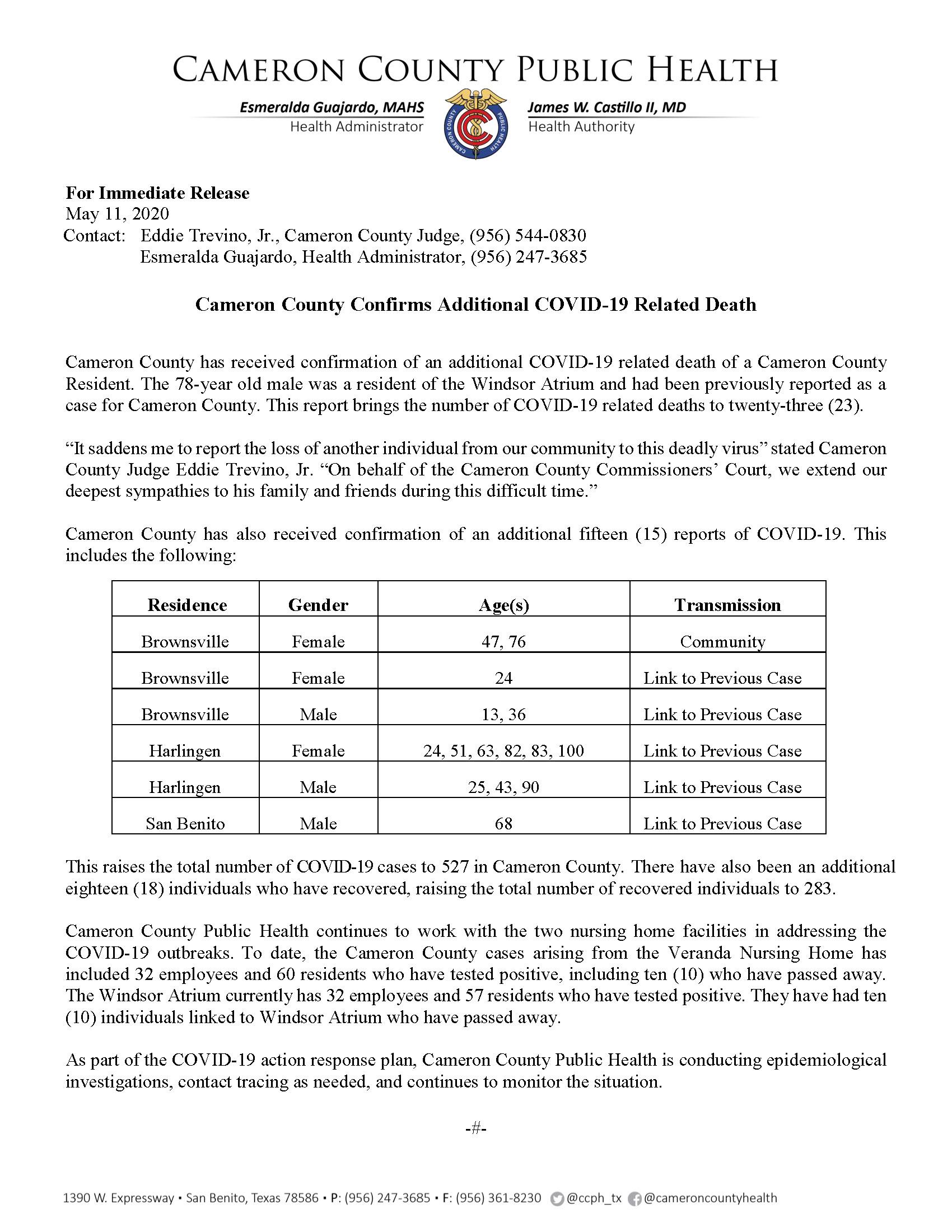 COVID 19 Press Release 513 527 PR44 5 111 2020