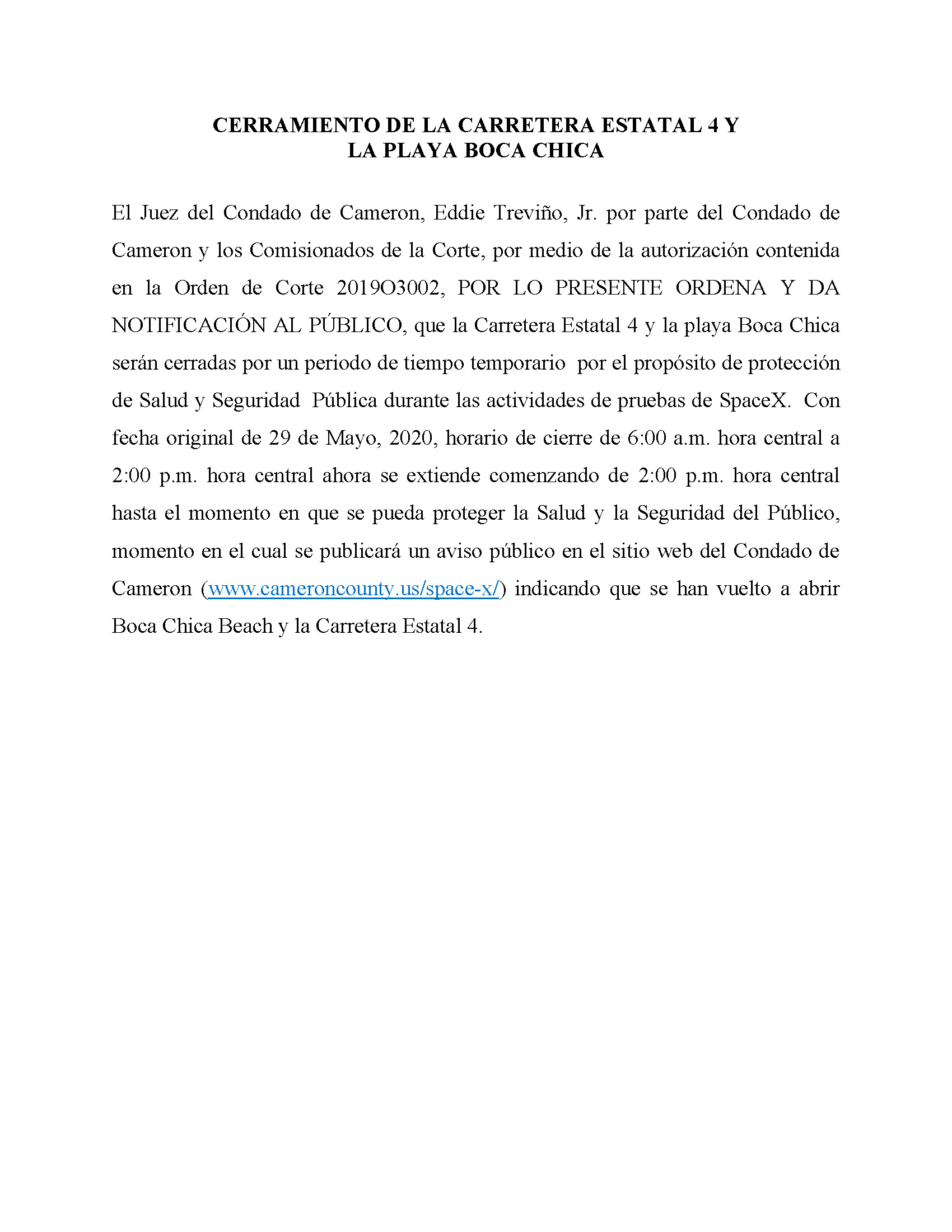 ORDER.CLOSURE OF HIGHWAY 4 Y LA PLAYA BOCA CHICA.SPANISH.05.29.20