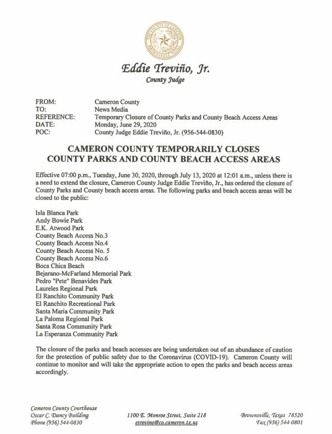 06.29.2020 Cameron County Temporarily Closes County Parks and County Beach Access Areas_Page_1