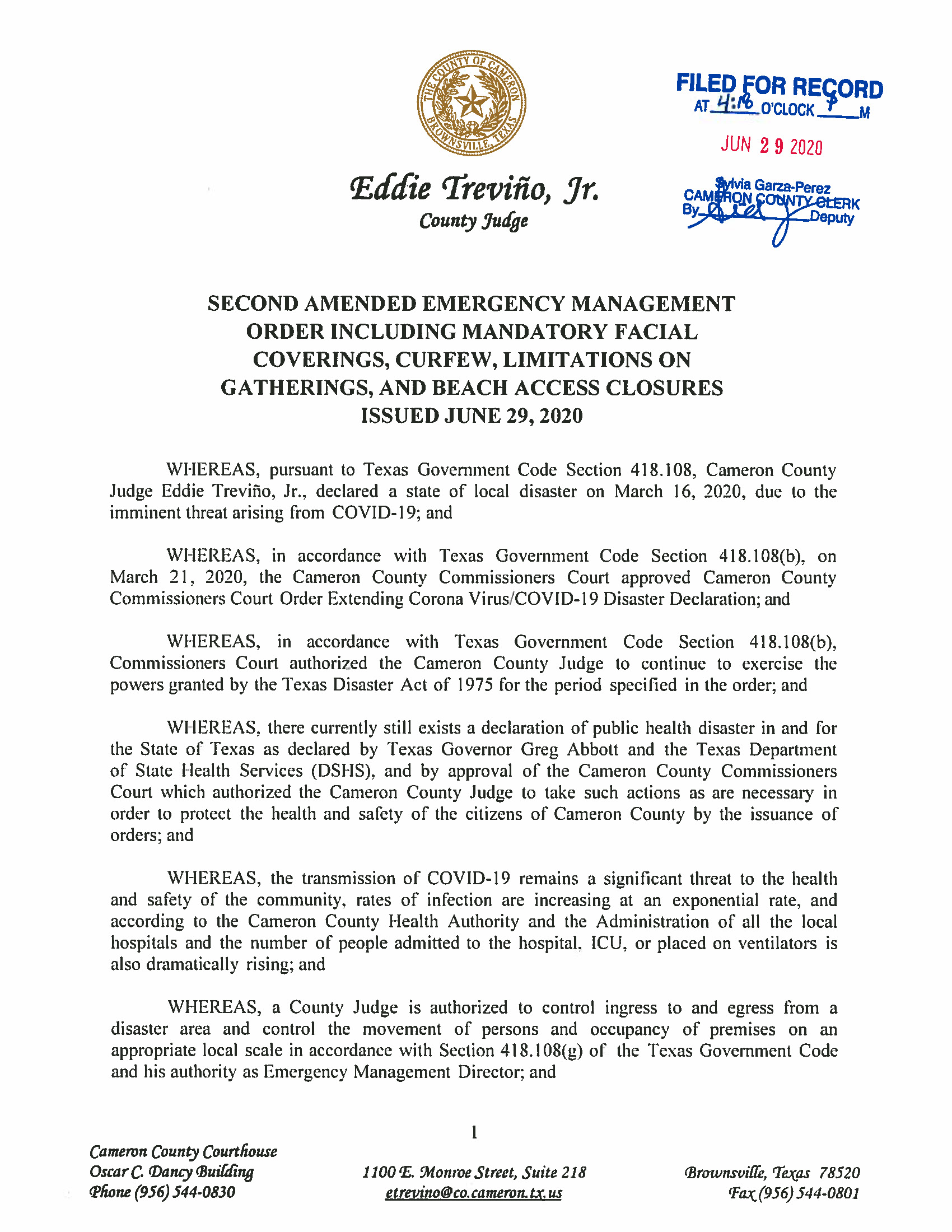 06.29.2020 ORDER Second Amended Emergency Management Order Including Mandatory Facial Coverings Curfew Limitations On Gatherings And Beach Access Closures Page 01