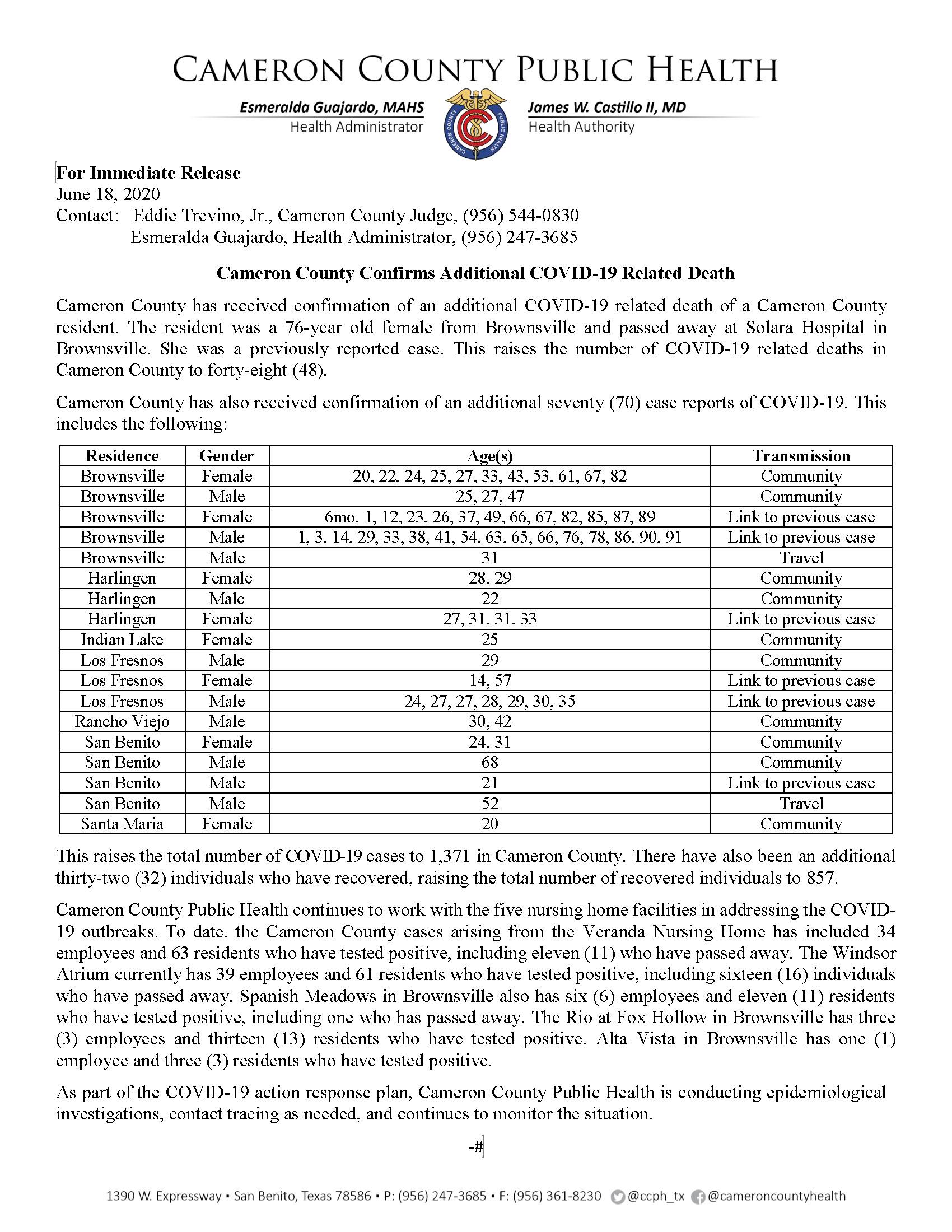 COVID 19 Press Release 1302 1371 PR76 06 18 2020