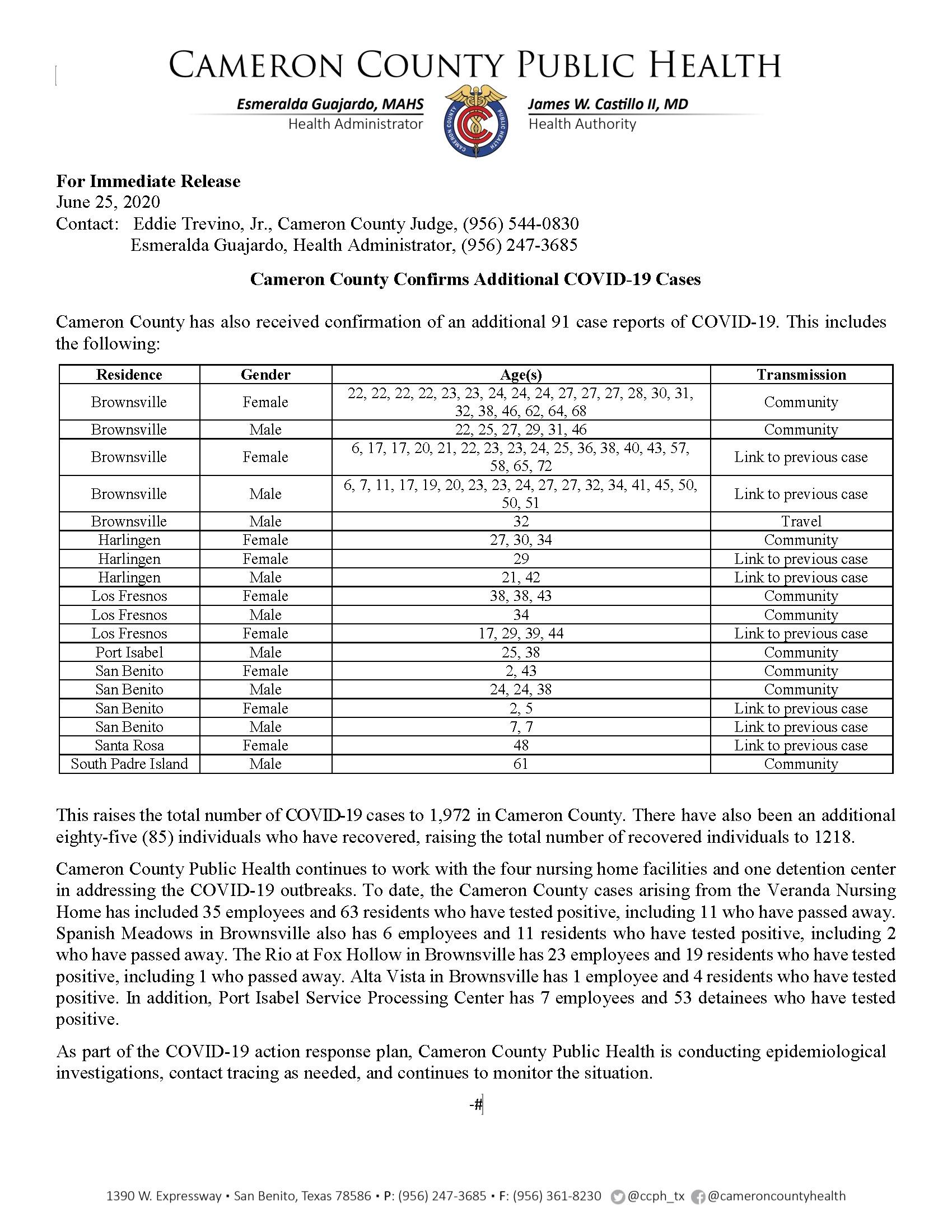 COVID 19 Press Release 1882 1972 PR82 06.25.2020