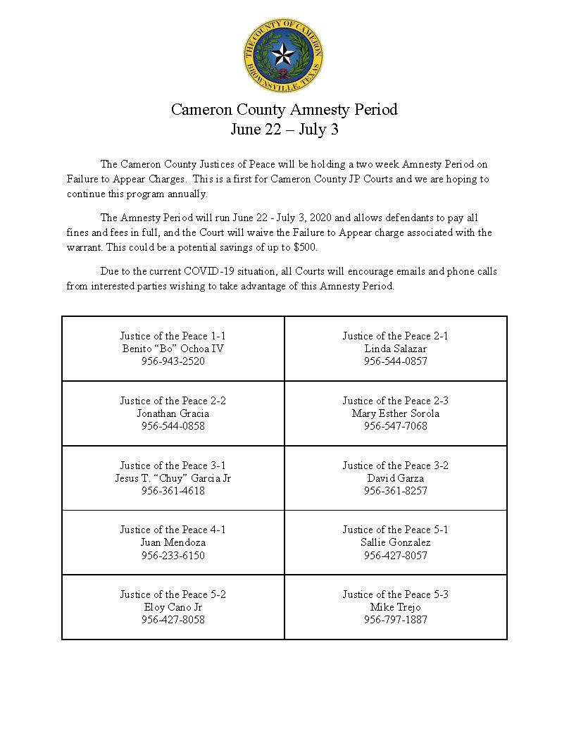 Cameron County Amnesty Period