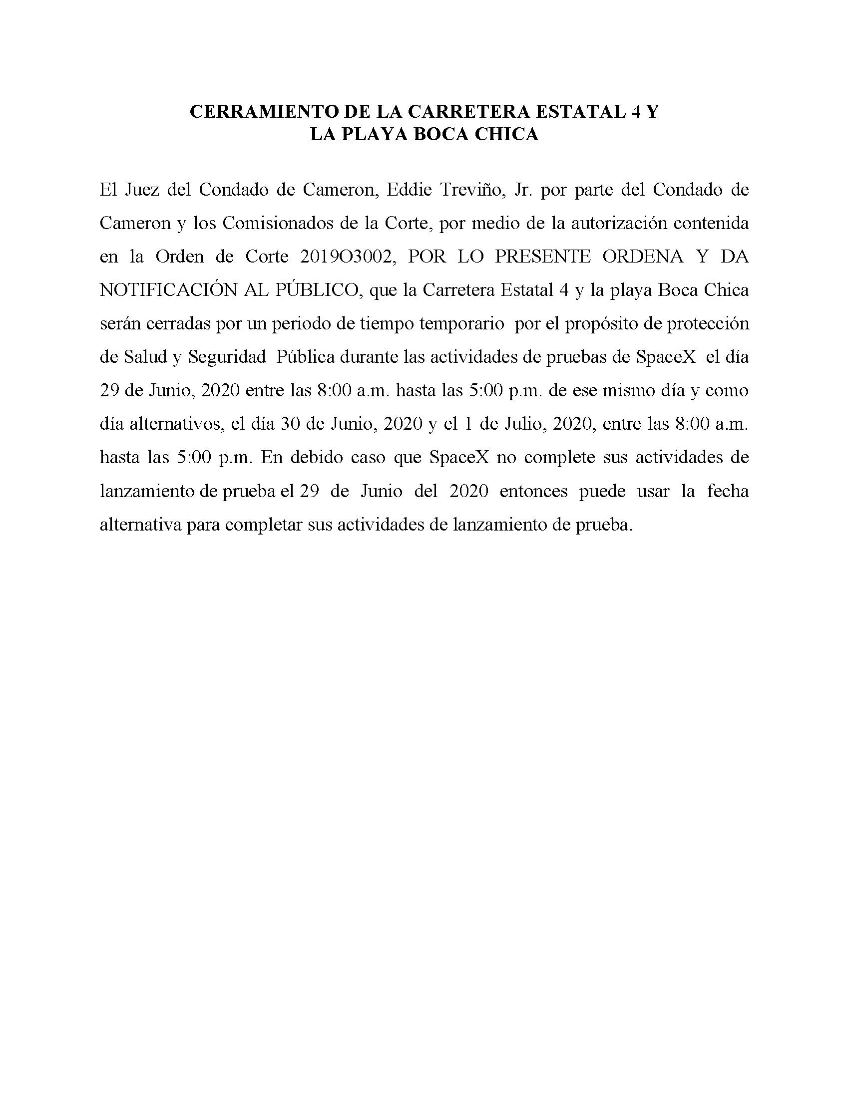 ORDER.CLOSURE OF HIGHWAY 4 Y LA PLAYA BOCA CHICA.SPANISH.06.29.20