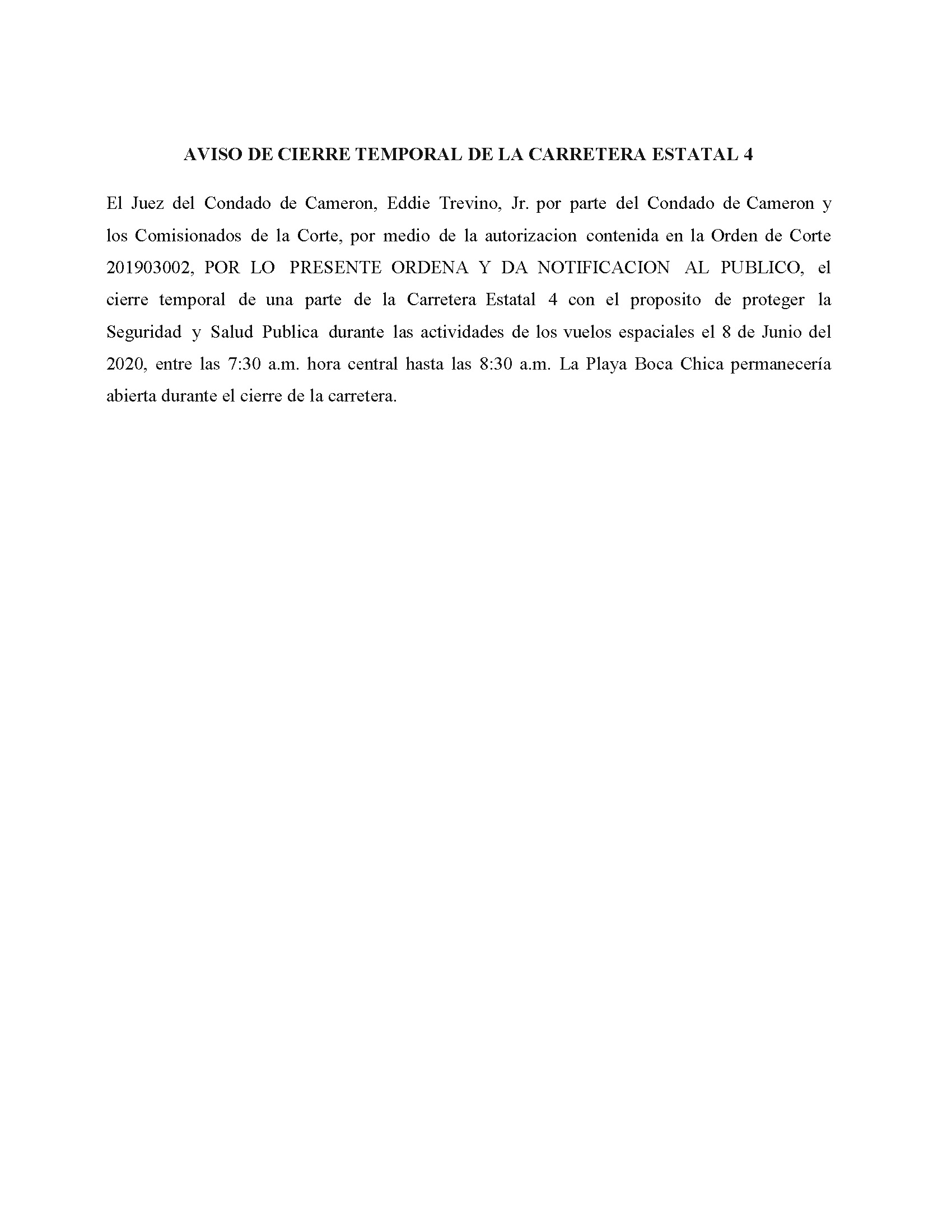 Order In Spanish 06.08.2020.State Hwy 4 Closure Only