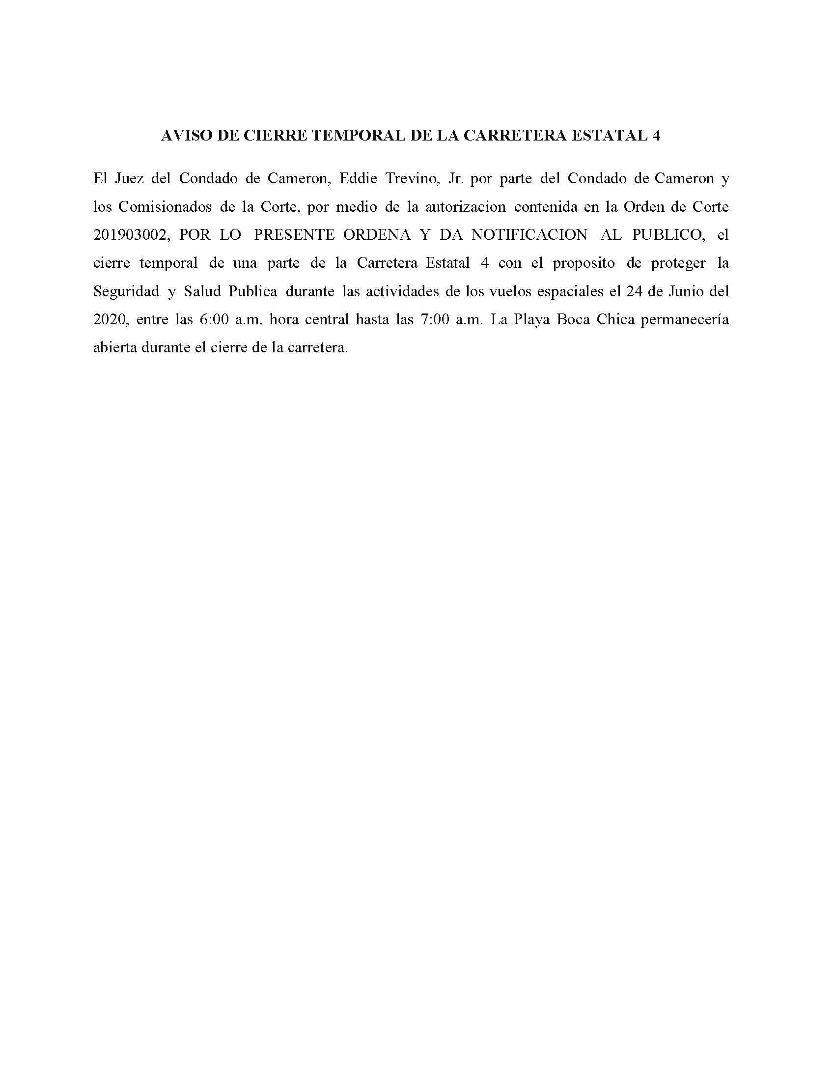 Order In Spanish 06.24.2020.State Hwy 4 Closure Only