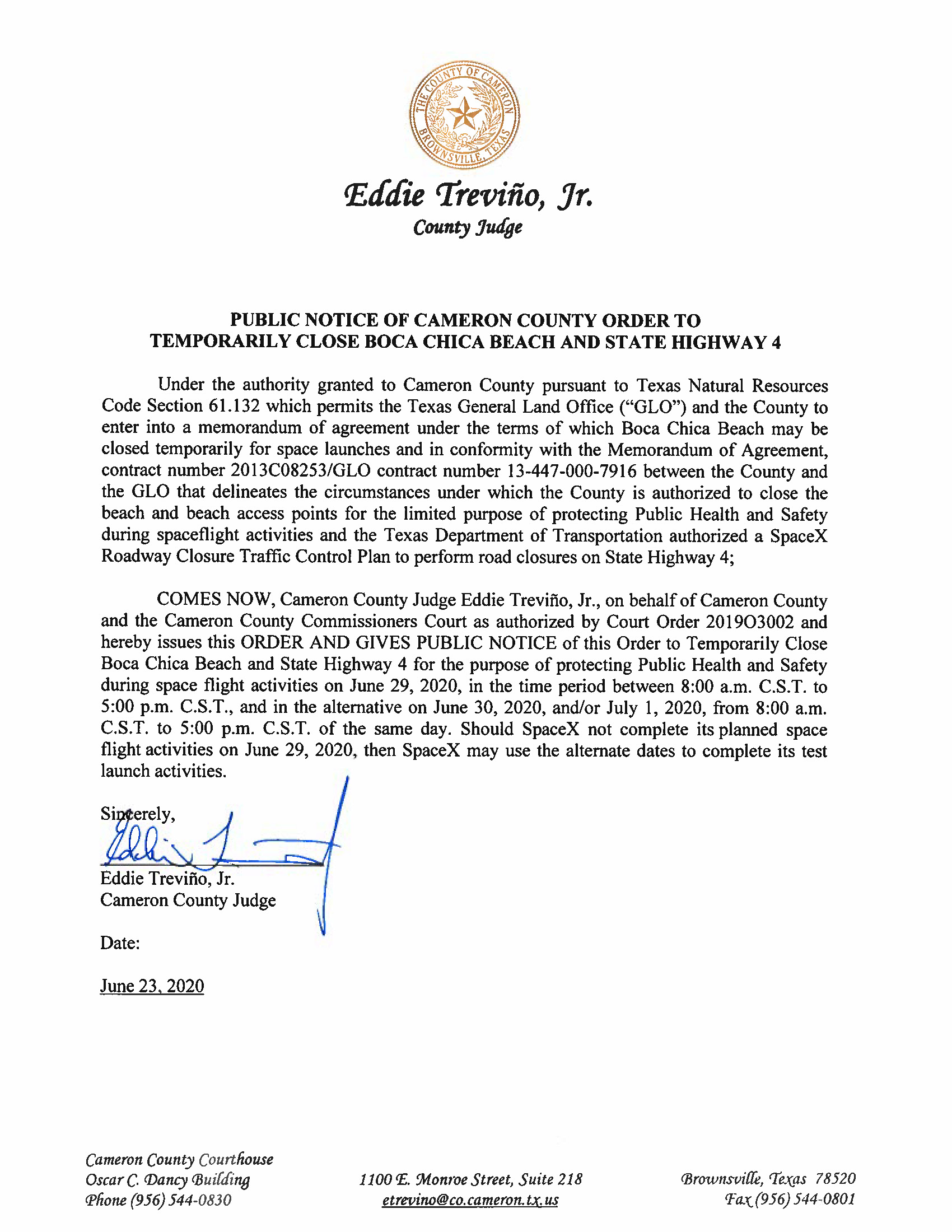 PUBLIC NOTICE OF CAMERON COUNTY ORDER TO TEMP. BEACH CLOSURE AND HWY.06.29.20 Page 1