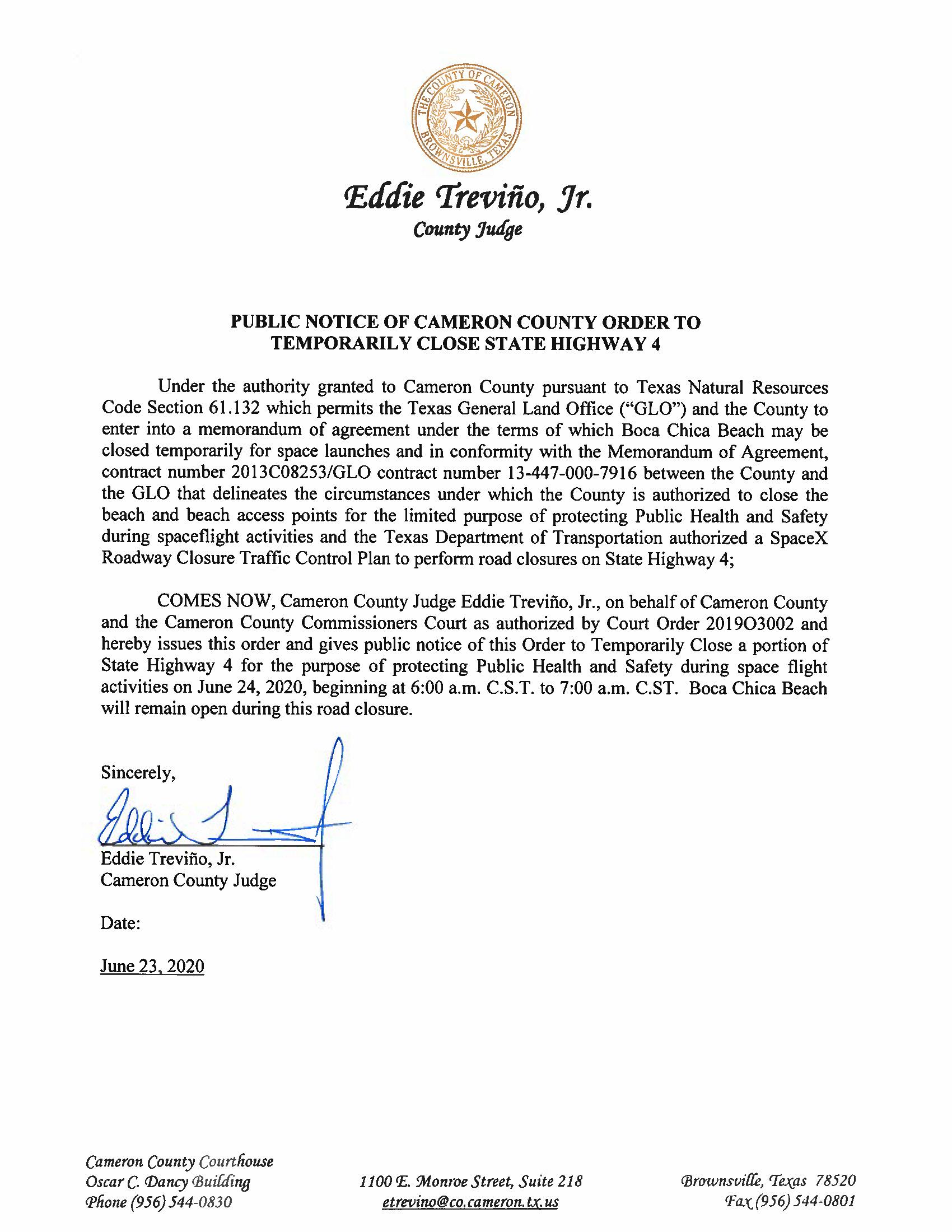 PUBLIC NOTICE OF CAMERON COUNTY ORDER TO TEMP. ROAD CLOSURE. 06.24.20