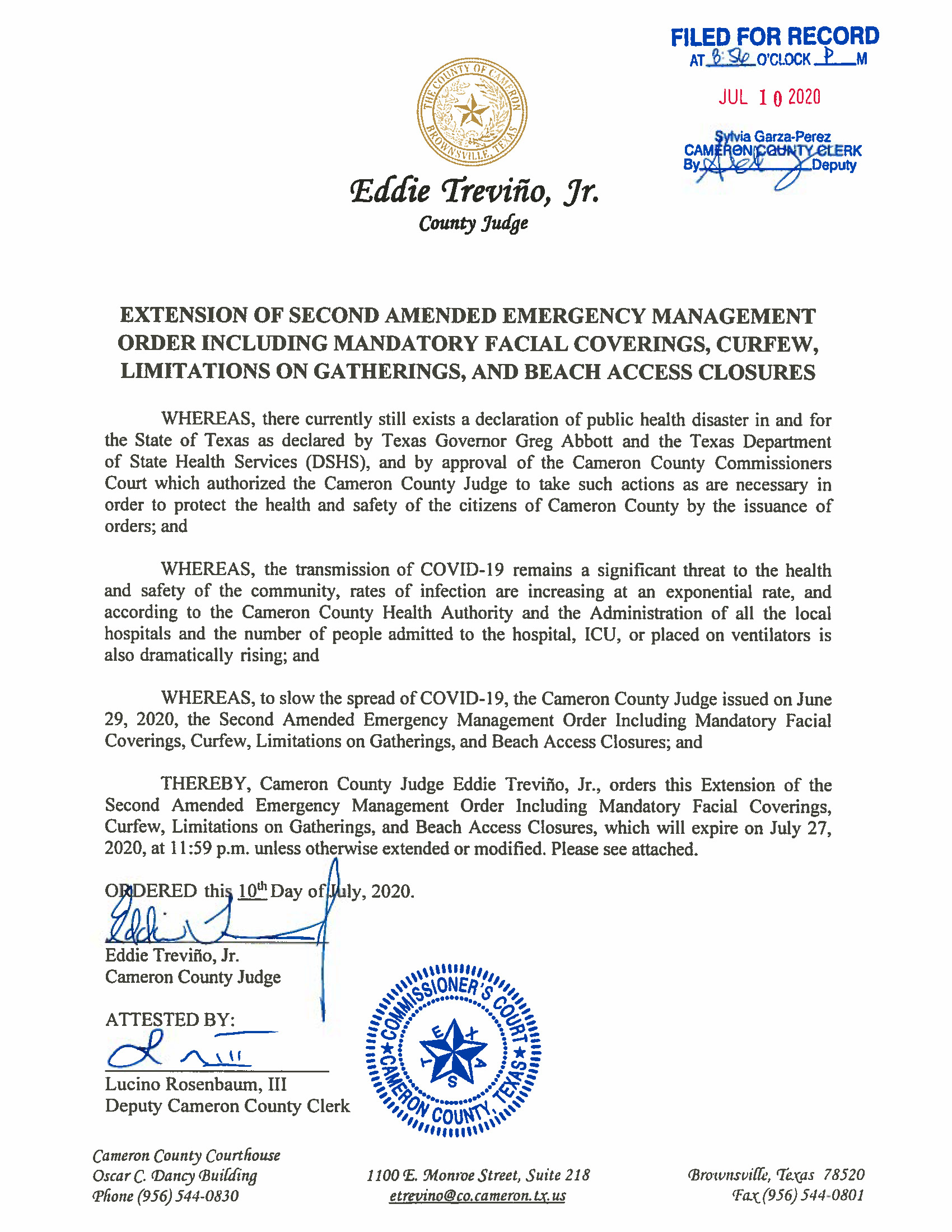 07.10.2020 Order Of Extension Of Second Amended EM Order Page 01