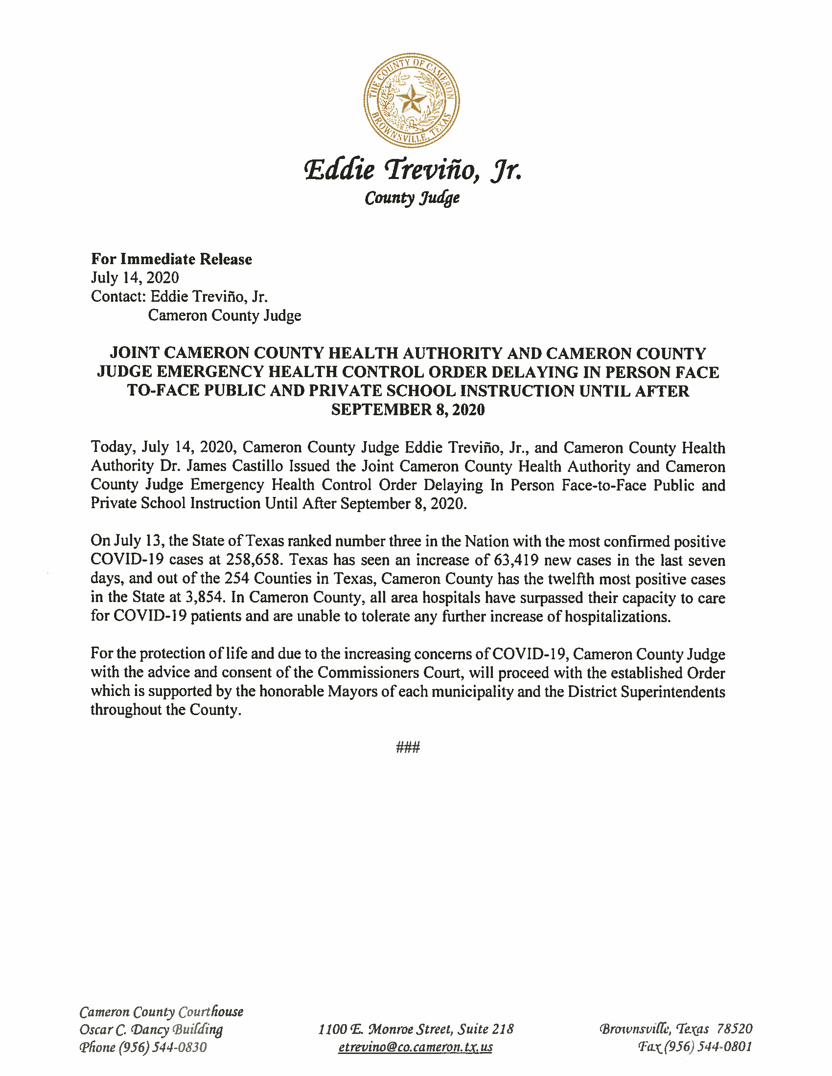 07.14.2020 Joint Cameron County Health Authority And Cameron County Judge Emergency Health Control Order