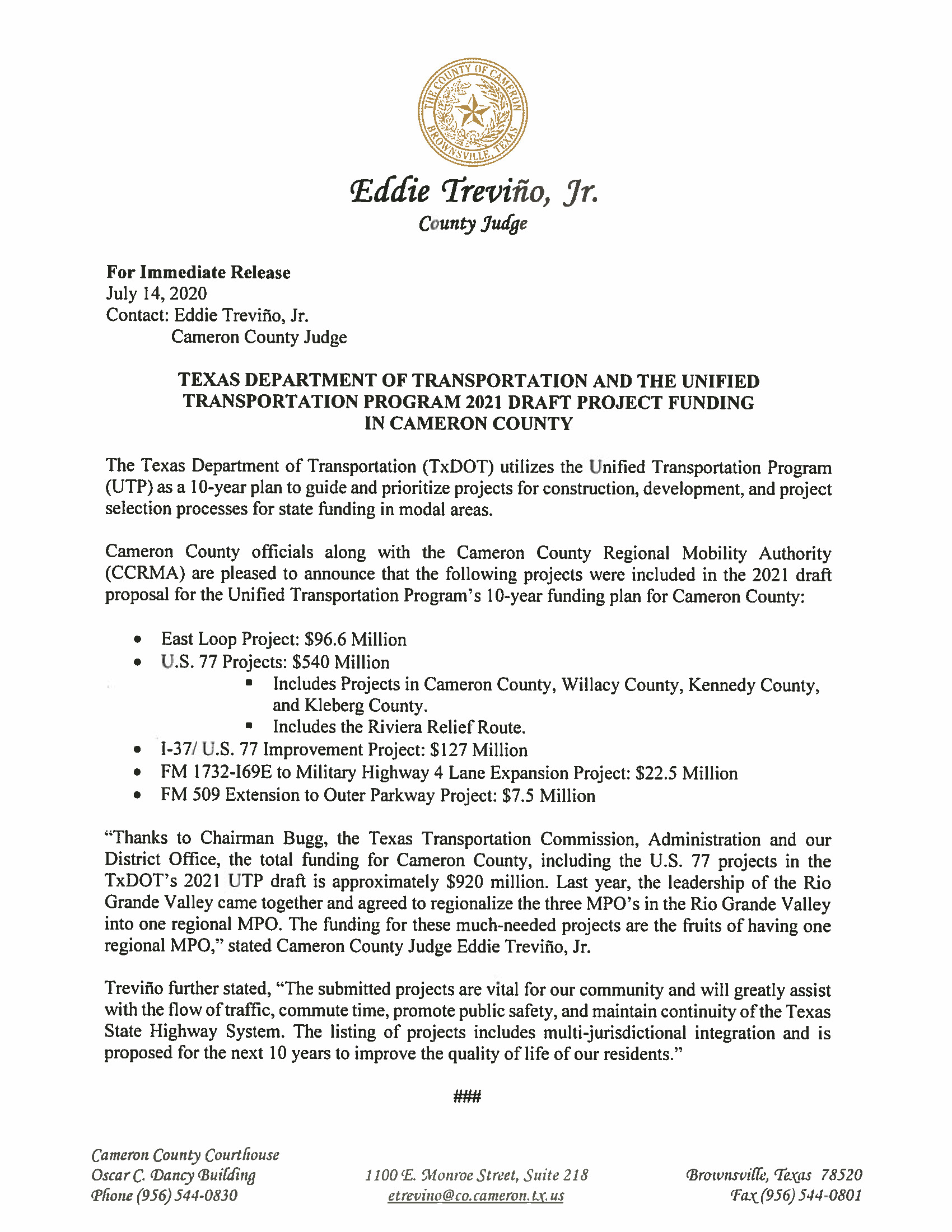 07.14.2020 Texas Department Of Transportation And The Unified Transportation Program 2021 Draft Project Funding In Cameron County