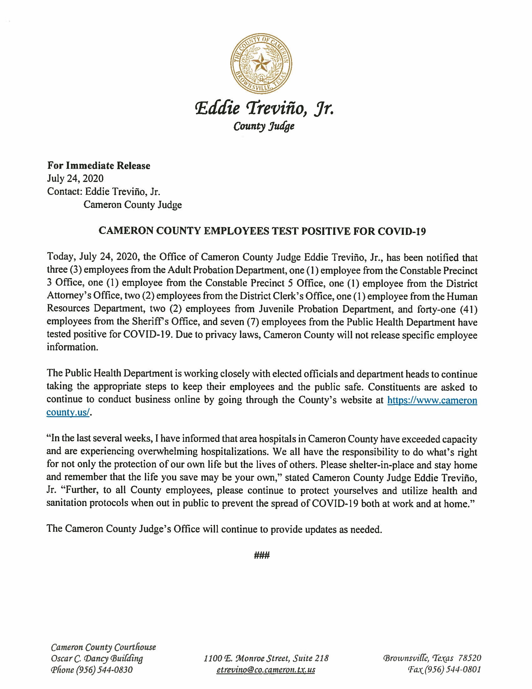 07.24.2020 Cameron County Employees Test Positive For COVID 19