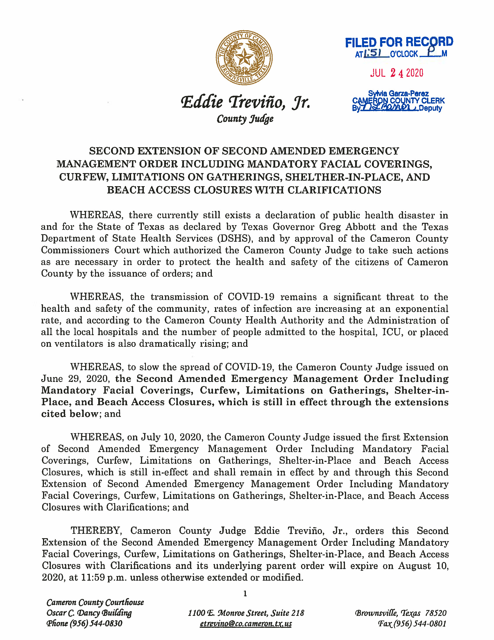 07.24.2020 ORDER Second Extension Of Second Amended Emergency Management Order Page 1